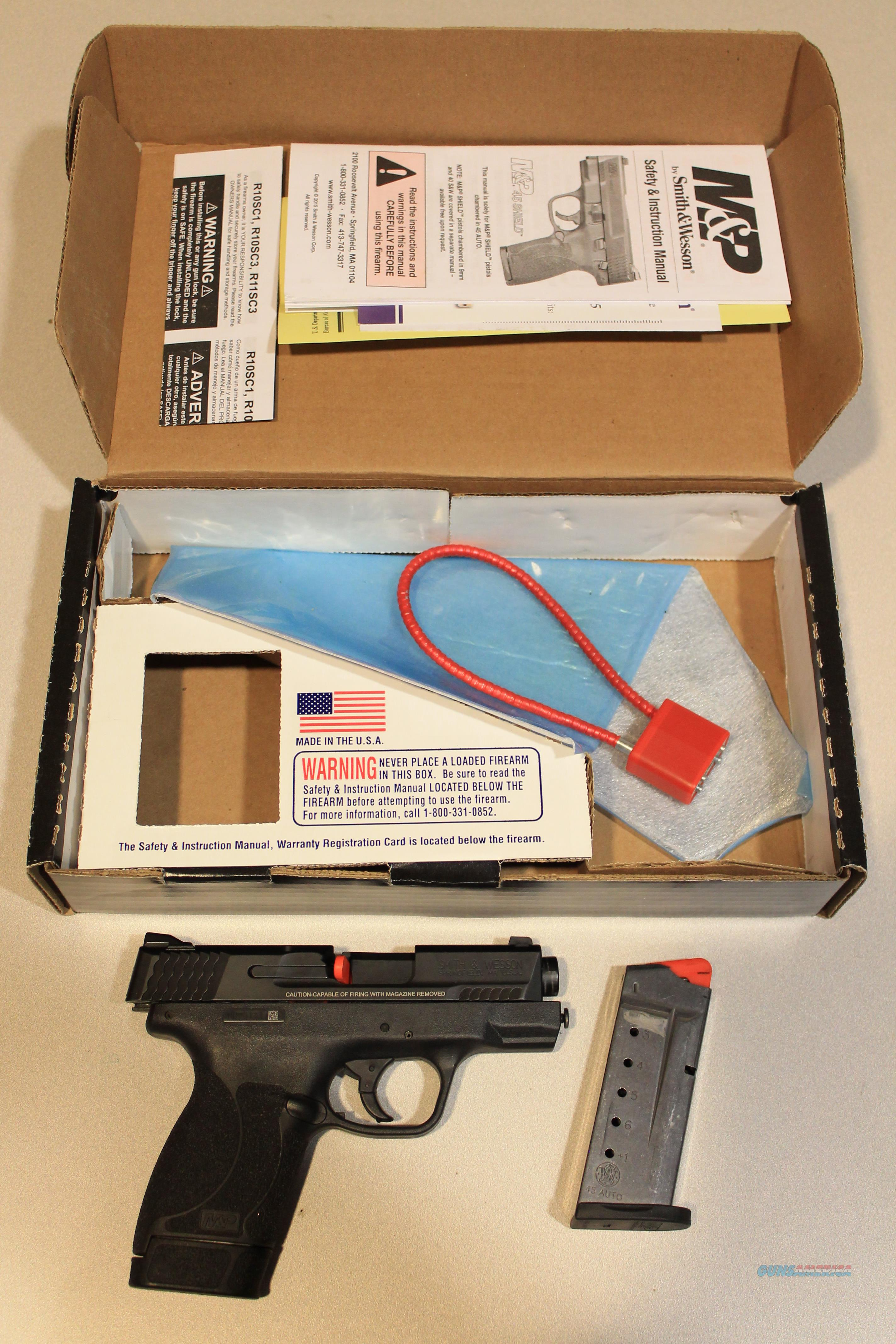 Smith & Wesson M&P45 Shield 45 ACP Centerfire Pistol with Thumb Safety  Guns > Pistols > Smith & Wesson Pistols - Autos > Shield