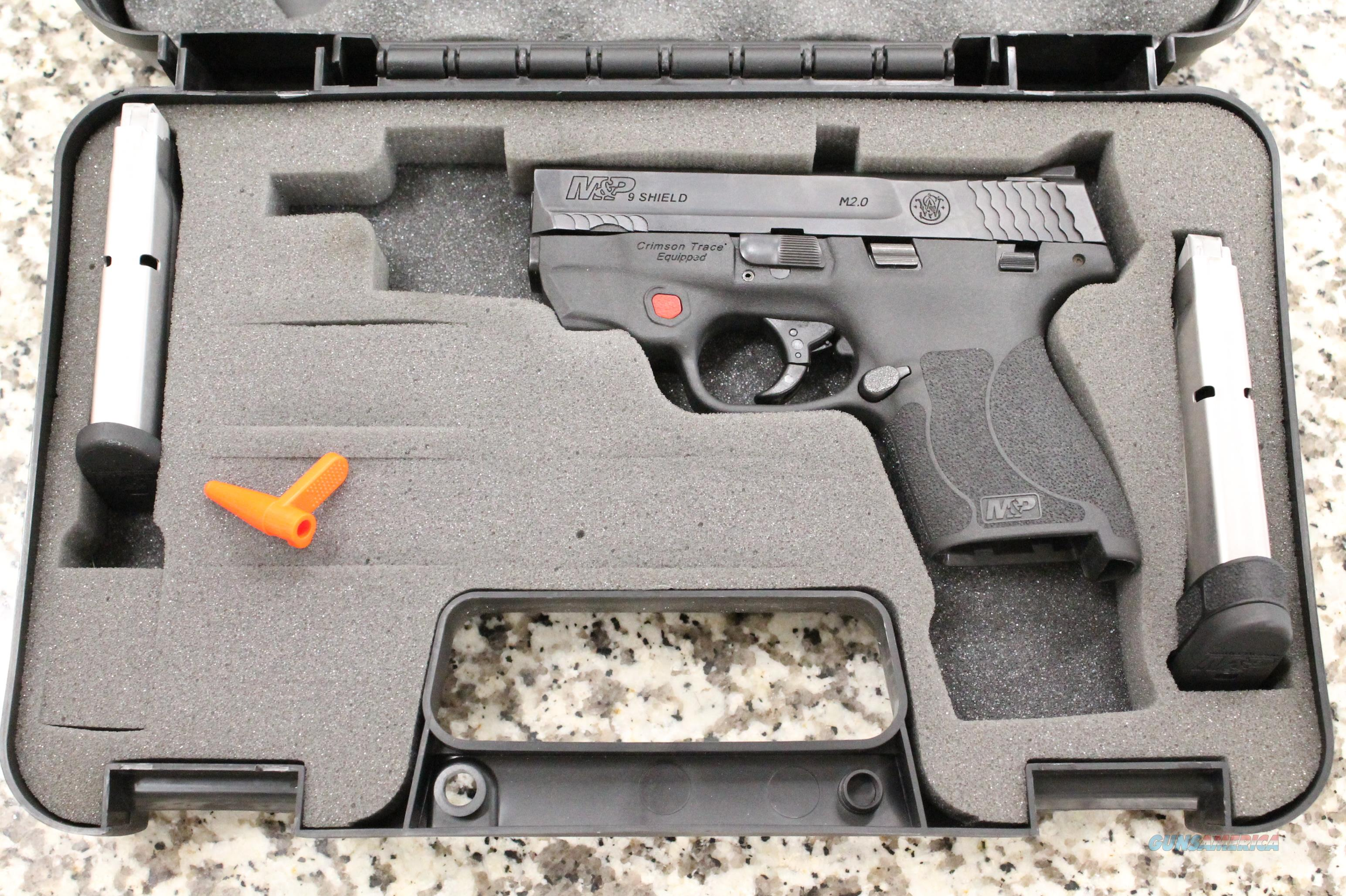 Smith & Wesson 9 Shield M2.0 Crimson Trace 9mm Pistol, 2 Mags, Hard Case  Guns > Pistols > Smith & Wesson Pistols - Autos > Shield