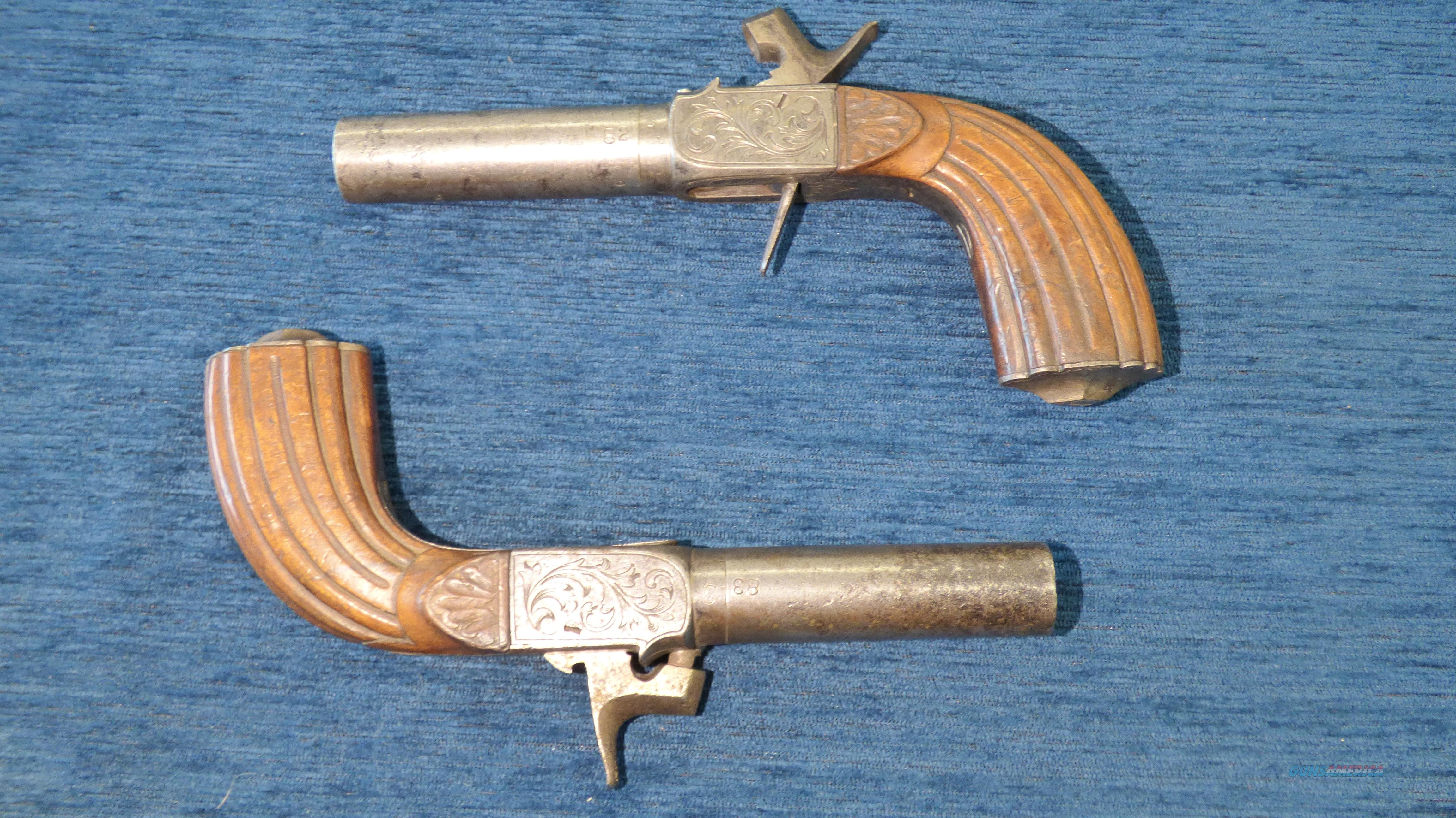 Pair of Continental Percussion Antique Coat Pistols  Guns > Pistols > Muzzleloading Pre-1899 Pistols (perc)