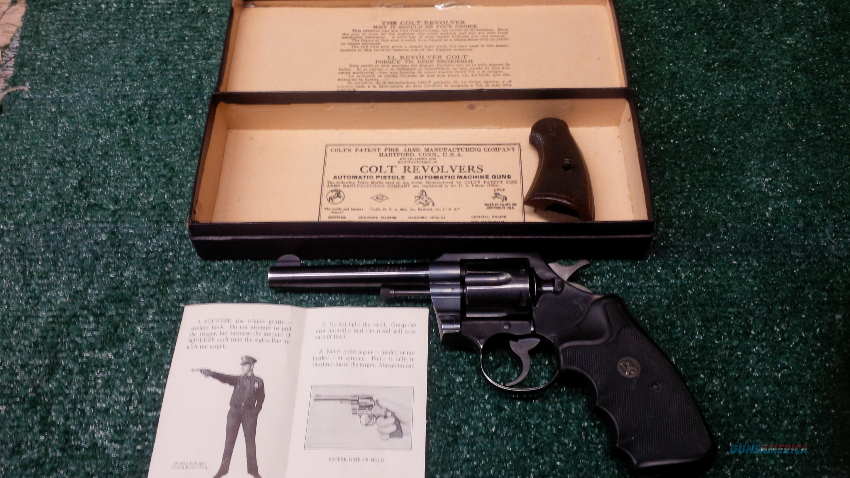 Colt Official Police .38 Special 6 Inch Revolver FINAL PRICE REDUCTION!!! Was $875.00 NOW $559.00  Guns > Pistols > Colt Double Action Revolvers- Pre-1945