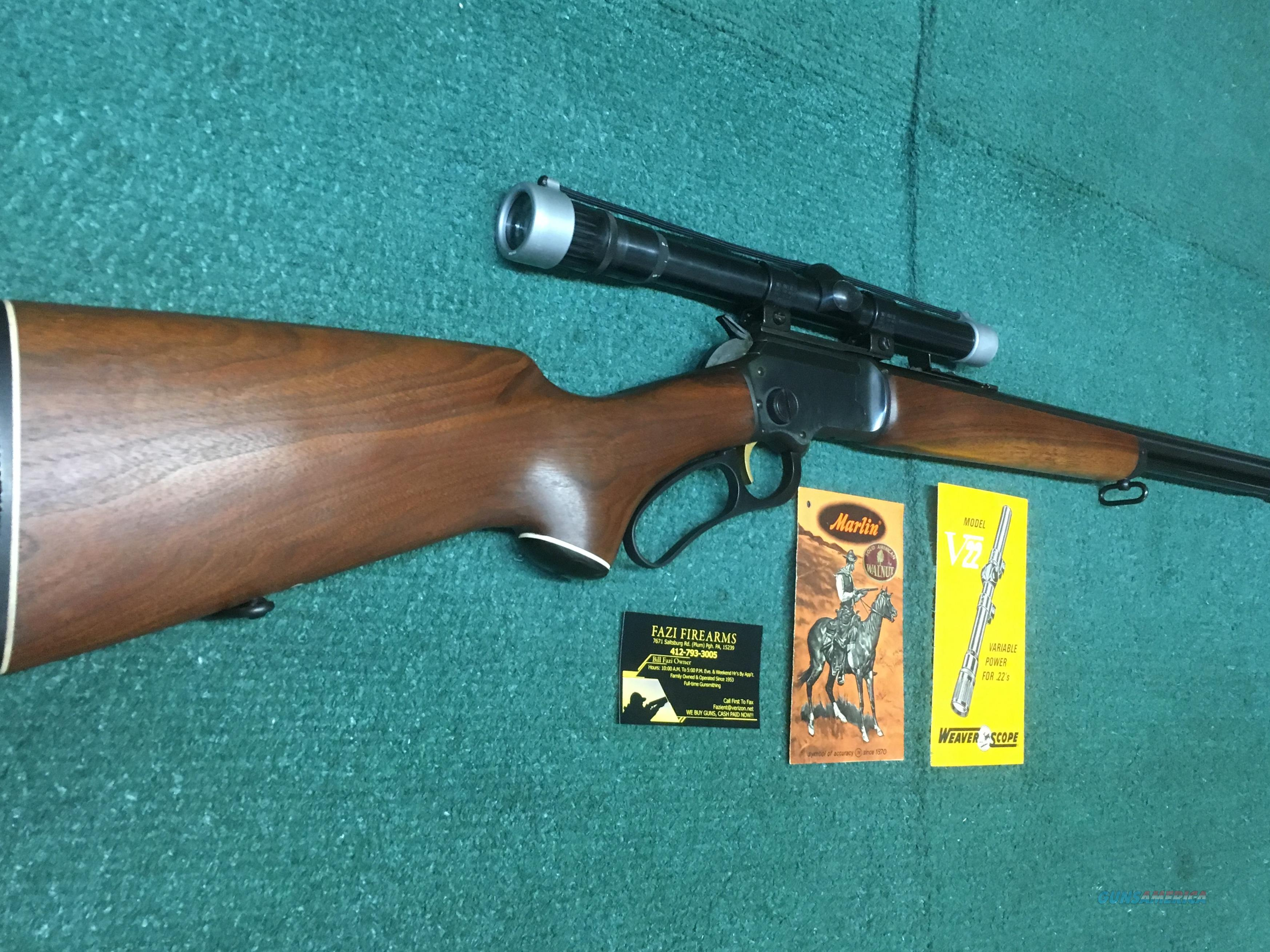 Marlin Golden 39A .22LR Lever Action Rifle With Weaver V-22 3x6 Variable Power Vintage Scope  Guns > Rifles > Marlin Rifles > Modern > Lever Action