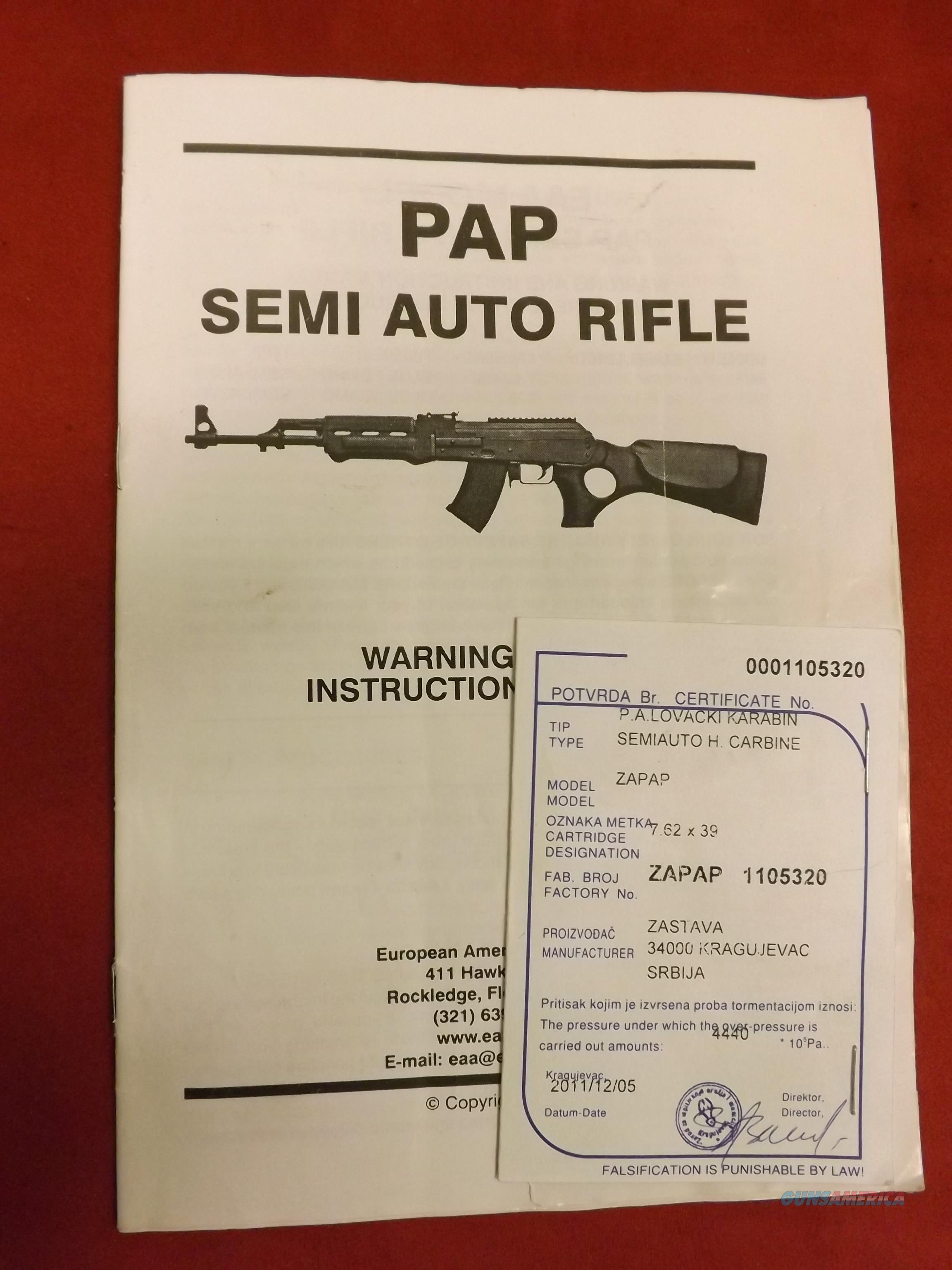 EAA PAP Model originally imported by EAA Corp Slant cut 1.5mm receiver   Guns > Rifles > Zastava Arms
