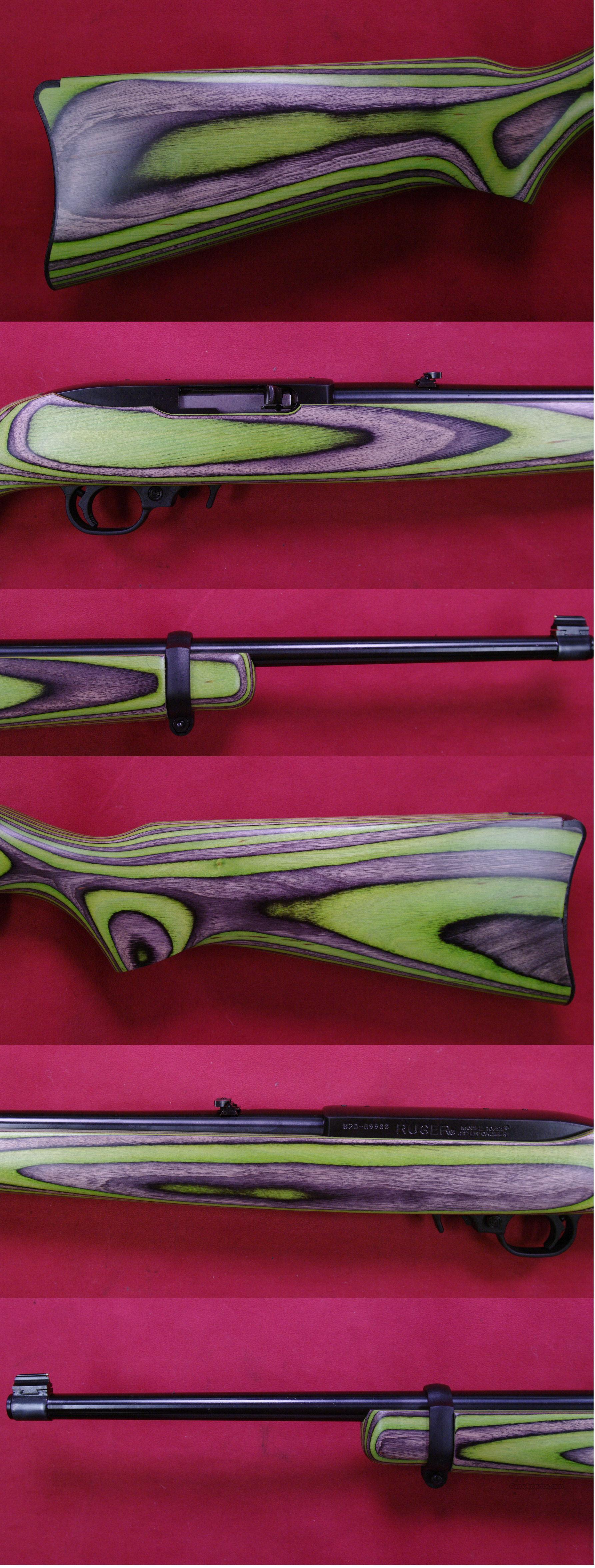 RUGER 10/22 Carbine 22LR  Black & Green Laminate Stock  Guns > Rifles > Ruger Rifles > 10-22
