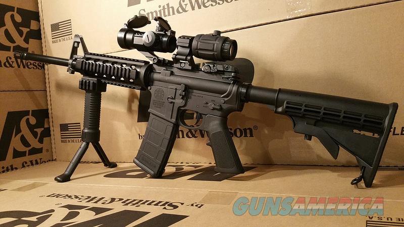 Smith & Wesson Sport 2 AR15 Rifle Red Dot, 3X Magnifier, Quad Rail, Bi Pod Fore Grip, AR 15 5.56 Nato Semi Auto Tactical Package  Guns > Rifles > Smith & Wesson Rifles > M&P