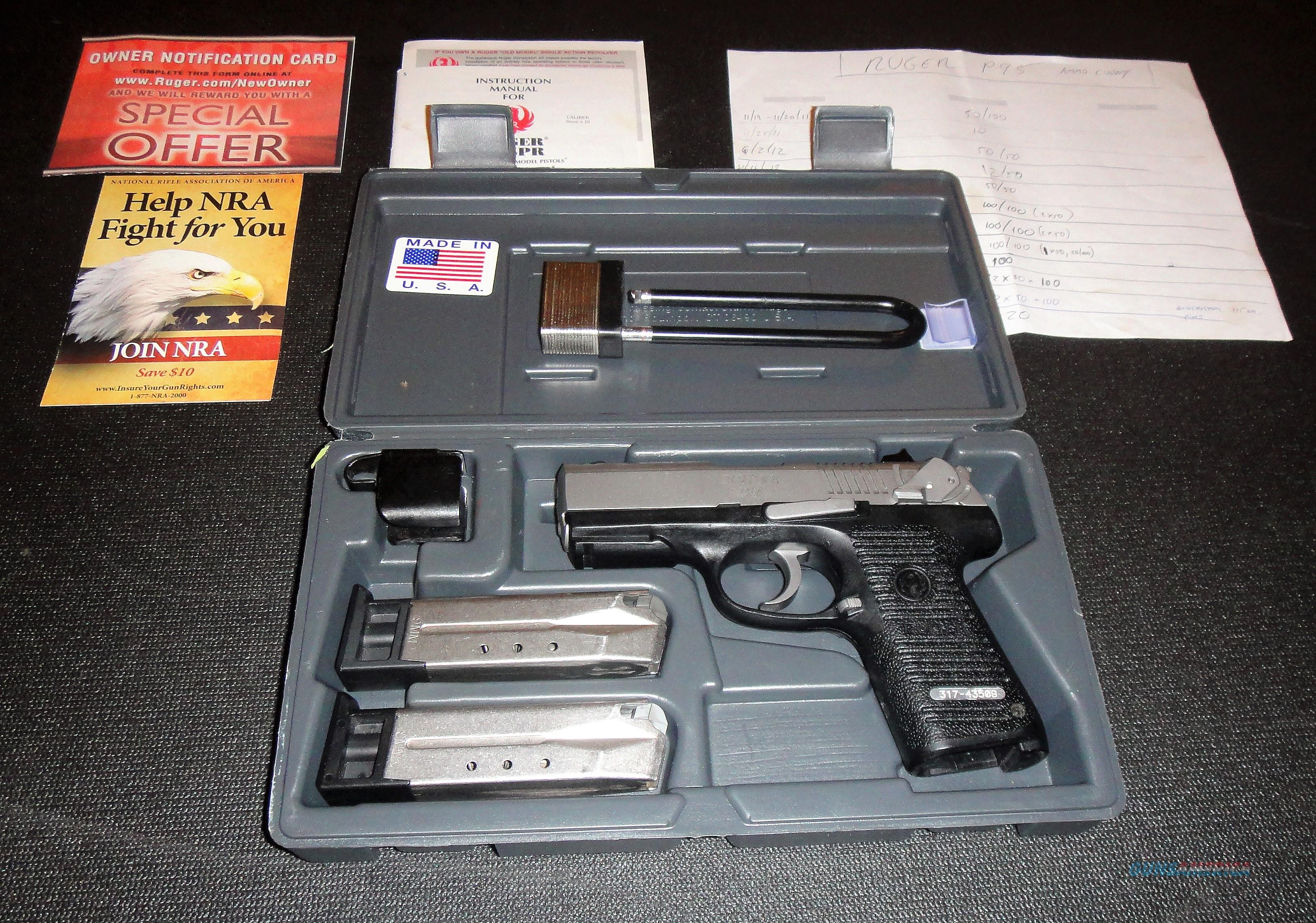 Ruger P95 9mm Nickel Finish w/ 3 mags - Hard Case - Manual + Holsters  Guns > Pistols > Ruger Semi-Auto Pistols > P-Series