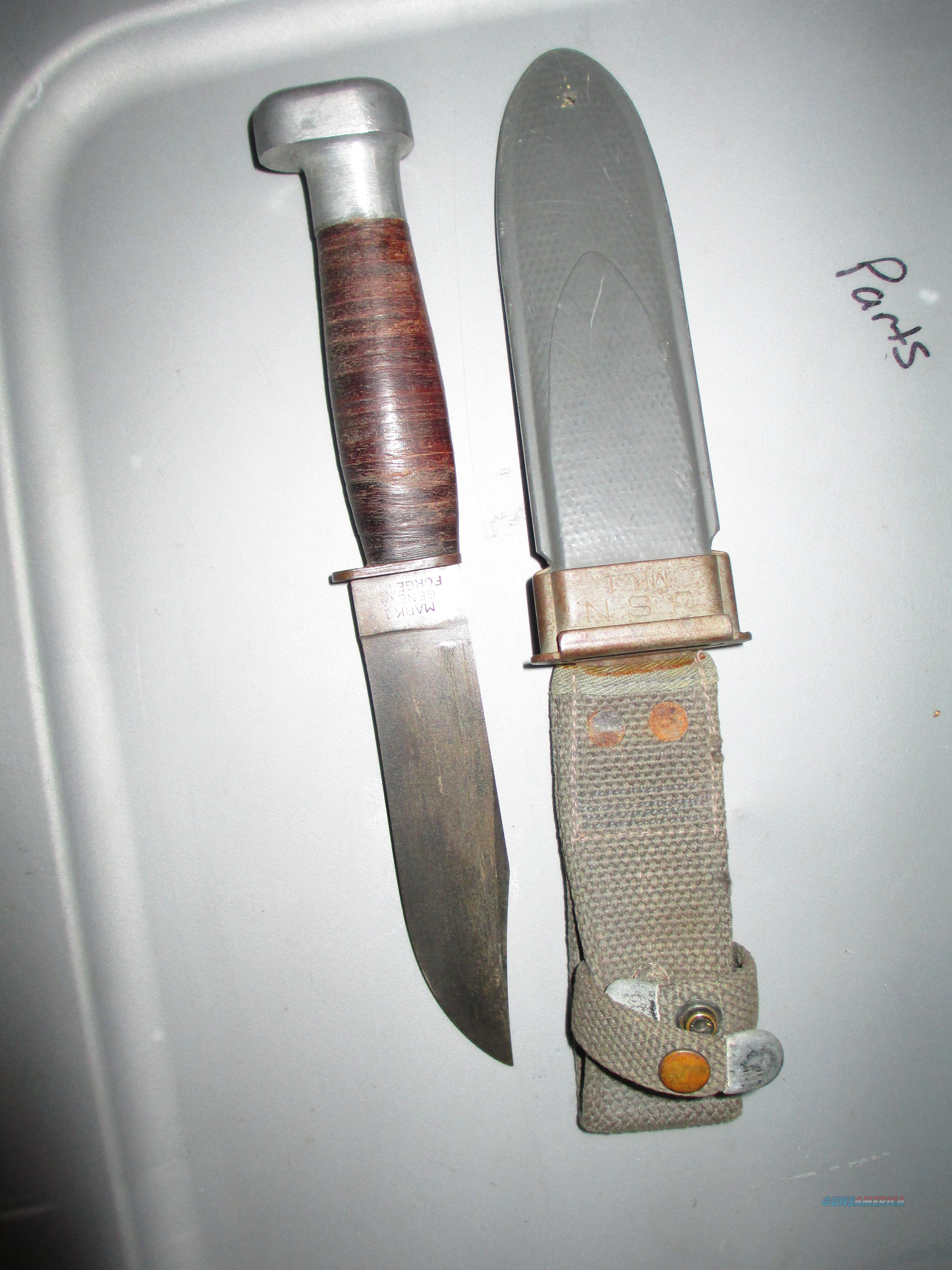 WW2 Geneva Forge USN  mark 1 knife in VG condition with sheath RARE maker  Non-Guns > Knives/Swords > Military > Non-Bayonets