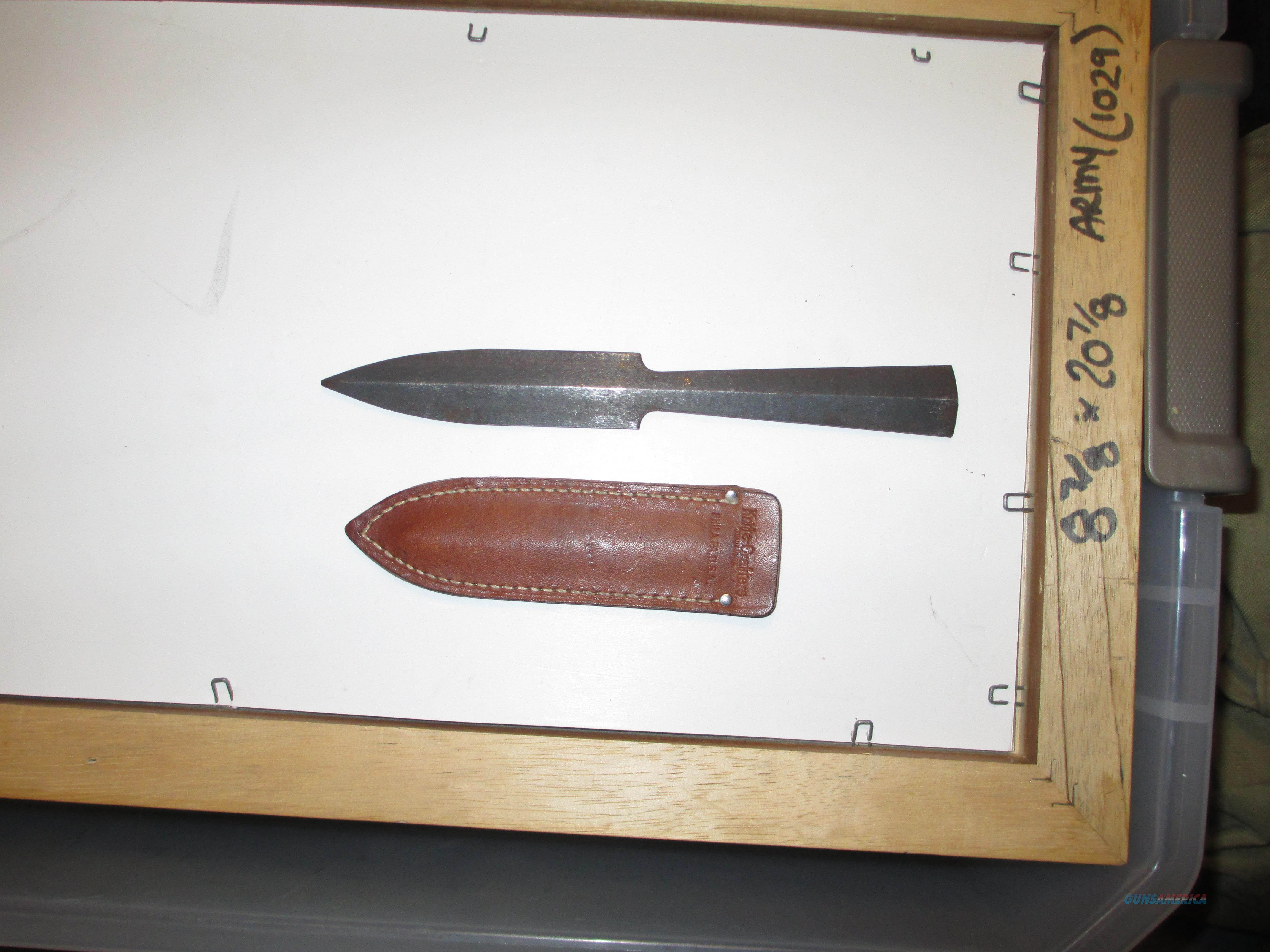 WW2 era Knife Crafters  throwing knife with original sheath  Non-Guns > Knives/Swords > Knives > Fixed Blade > Hand Made
