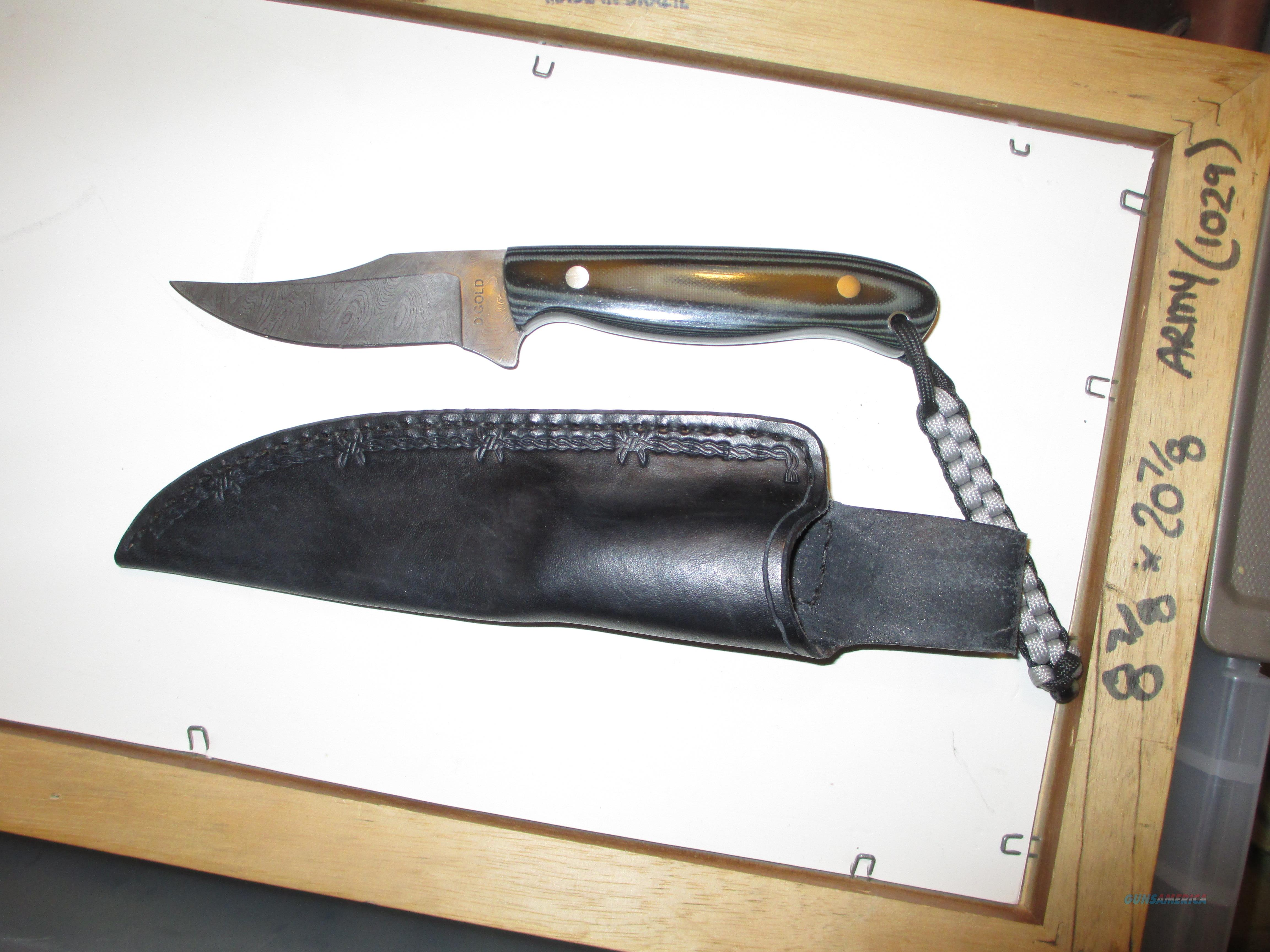 Dominic Gold custom Damascus hunting knife    Non-Guns > Knives/Swords > Knives > Fixed Blade > Hand Made