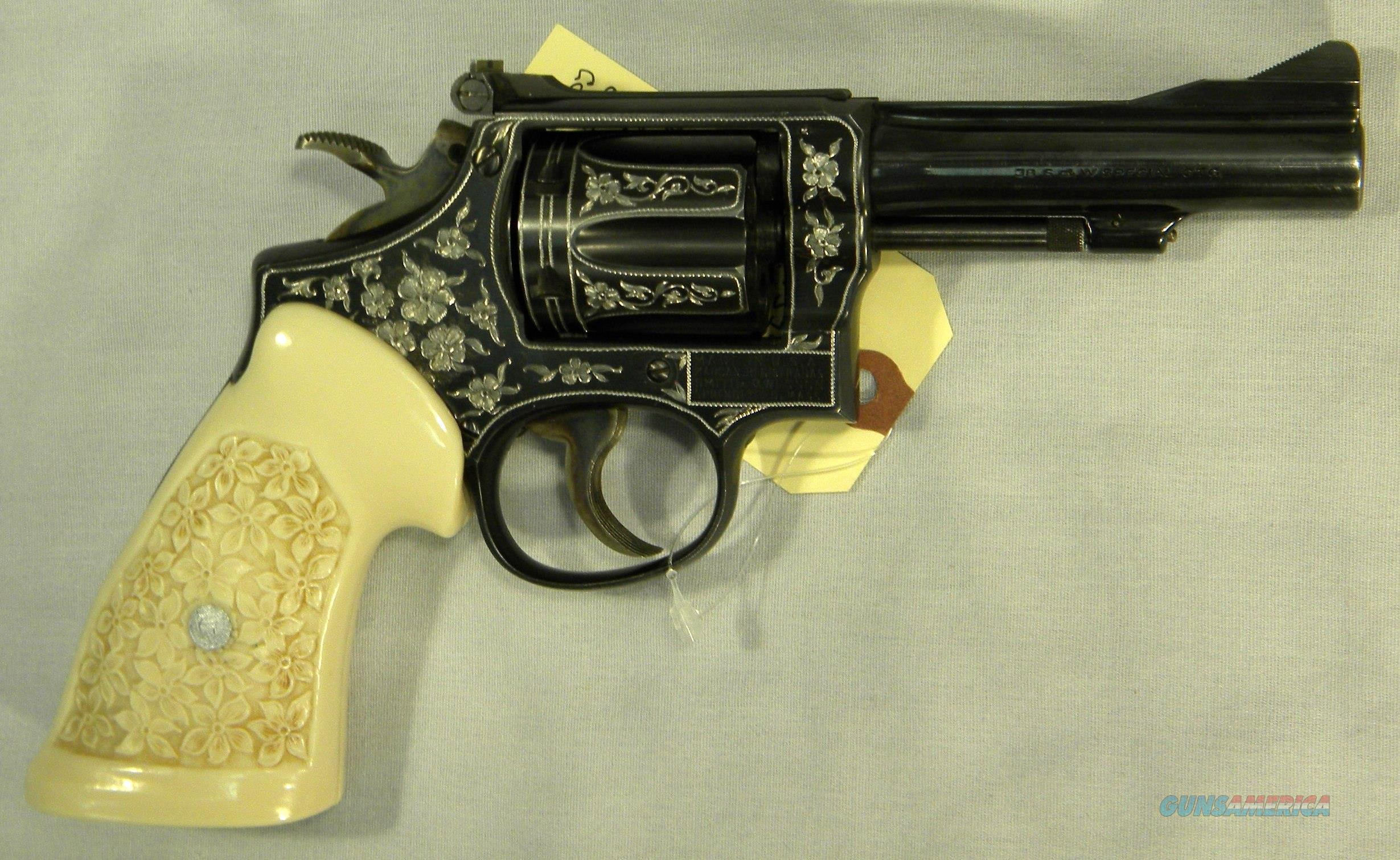 """Smith & Wesson K-38 """"Combat Masterpiece"""", Engraved .38 Special Revolver With Polymer Ivory Relieved Grips  Guns > Pistols > Smith & Wesson Revolvers > Med. Frame ( K/L )"""