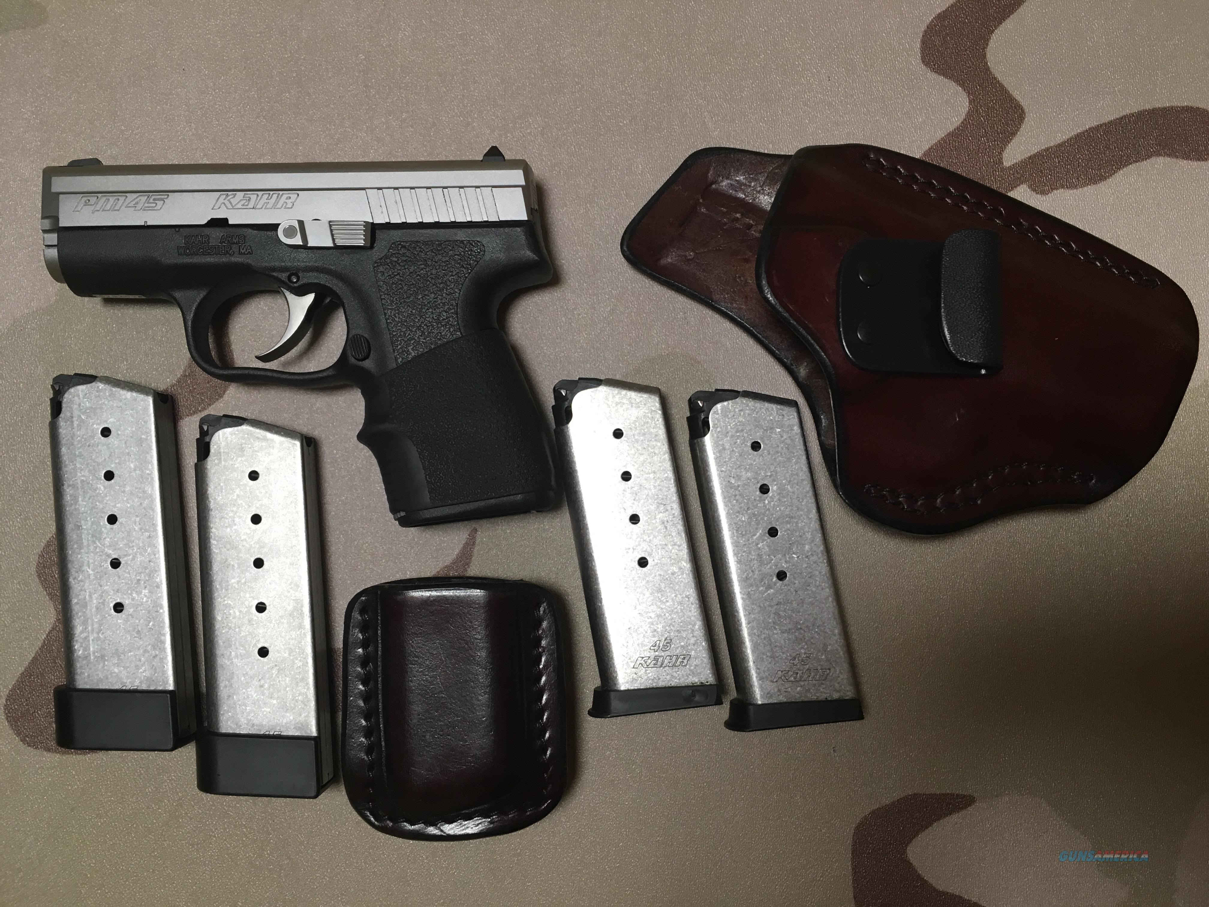 Kahr PM45 Two Tone with FIST, Inc IWB Leather Holster, 4 Mags, Mag Pouch, Box  Guns > Pistols > Kahr Pistols
