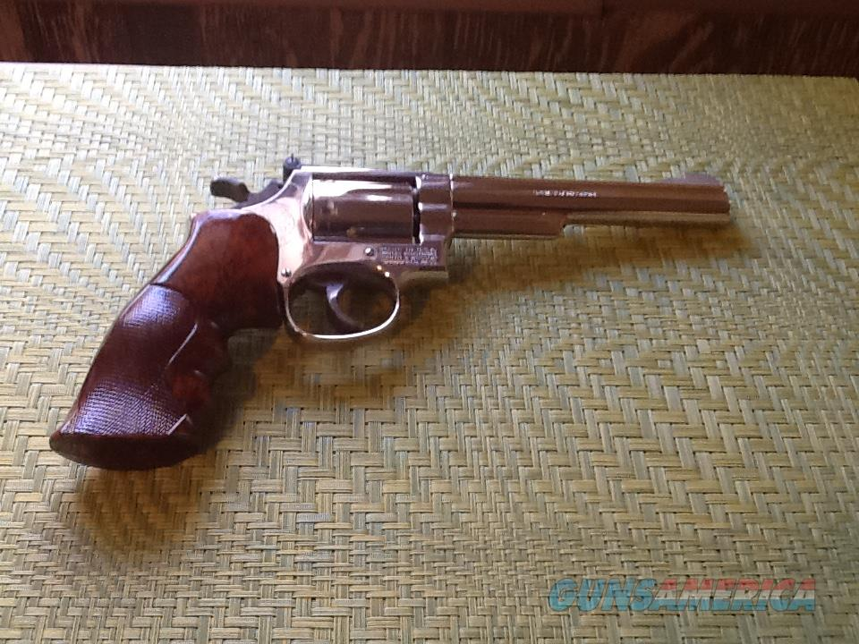 Smith &Wesson 357 nickel plated model 19-4 Revolver   (1972)  6 inch barrel length  Guns > Pistols > Smith & Wesson Revolvers > Med. Frame ( K/L )