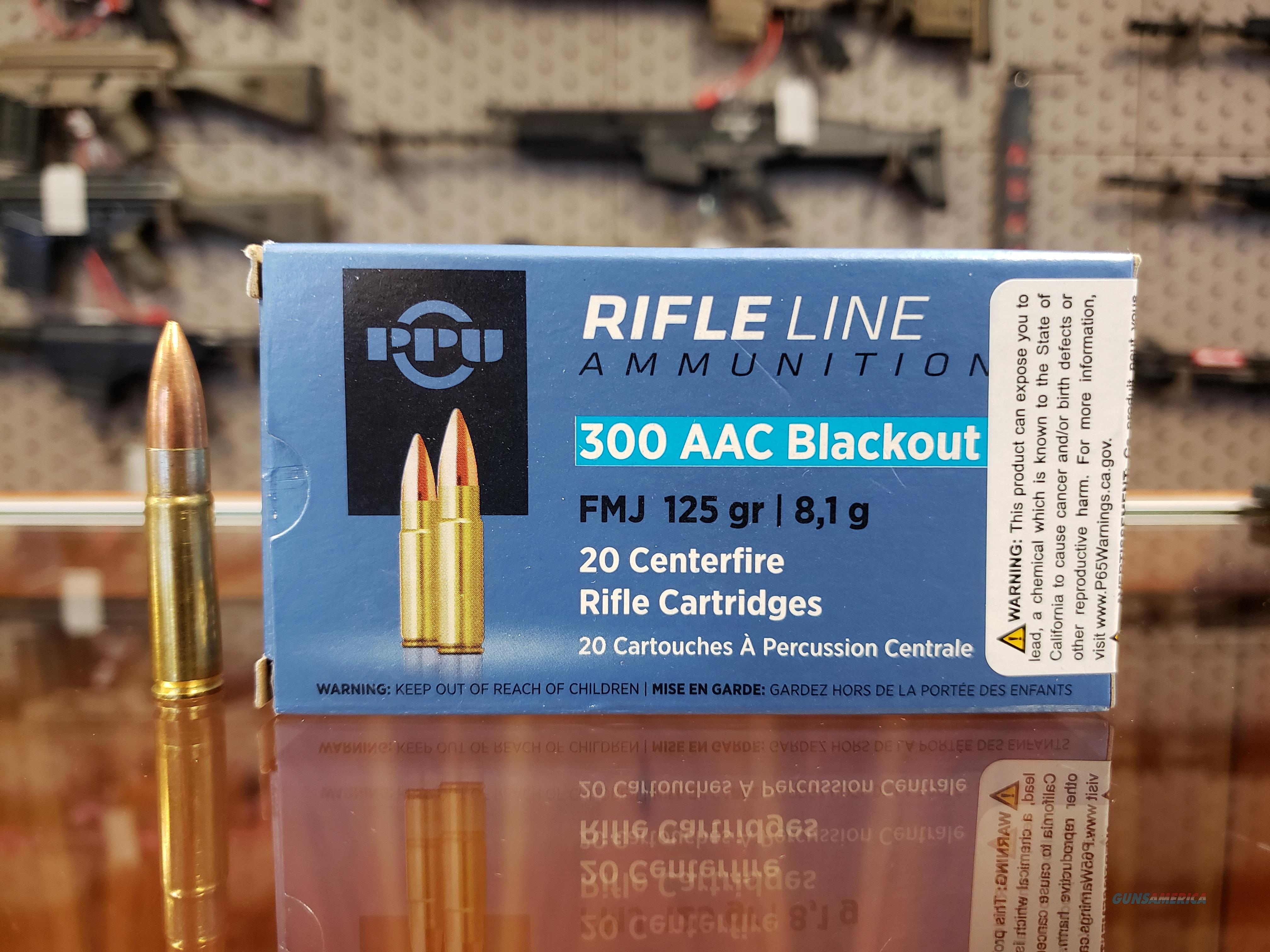 PPU PP300BF Standard Rifle 300 AAC Blackout/Whisper (7.62x35mm) 125 GR Flat Point Jacketed 20 Bx/ 50 Cs  Non-Guns > Ammunition