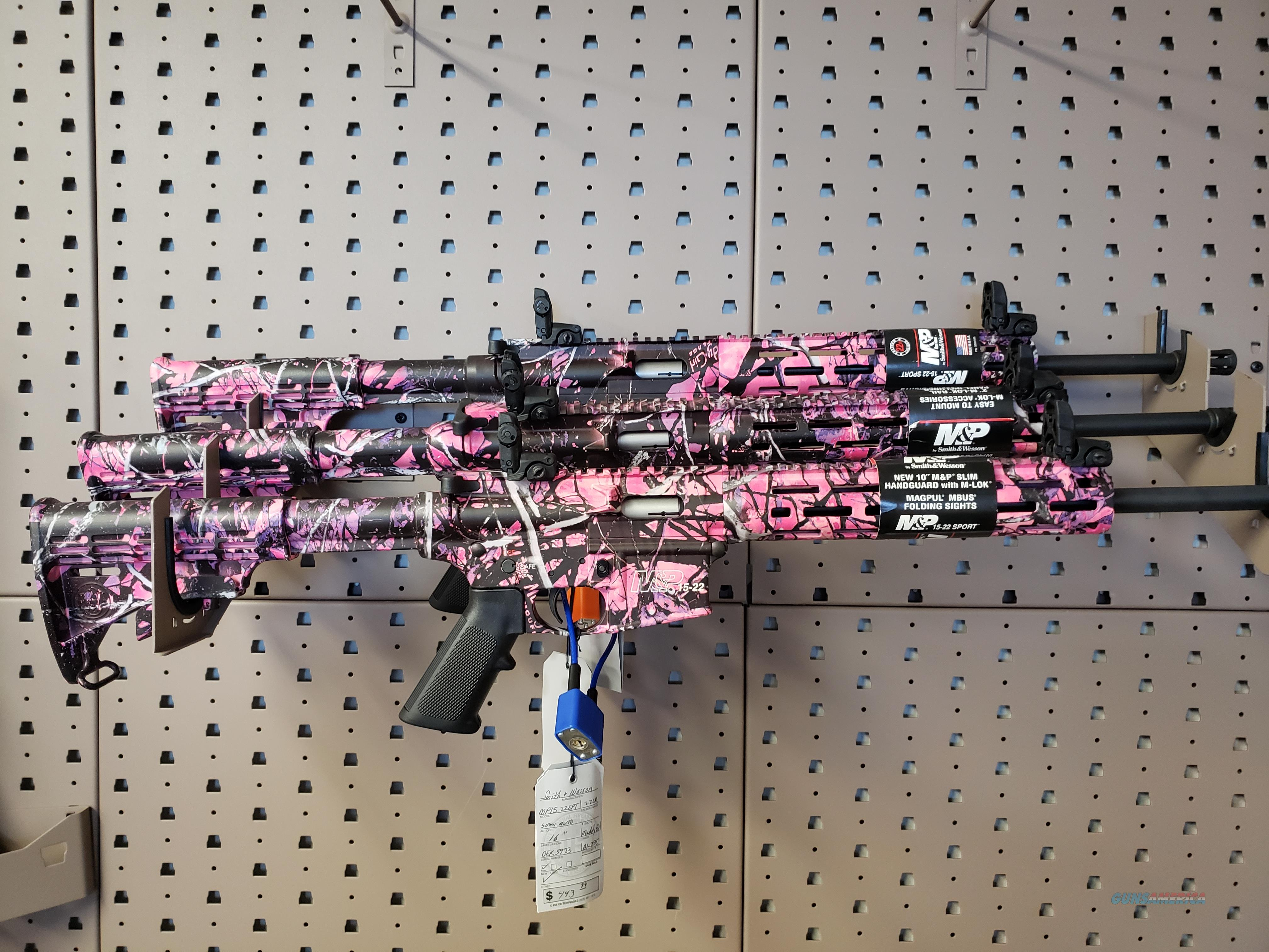 """SMITH & WESSON M&P15-22, 22LR, 16.5"""" BARREL, MUDDY GIRL FINISH, 6 POSITION COLLAPSIBLE STOCK, 10"""" M&P SLIM HANDGUARD WITH MAGPUL M-LOK, THREADED BARREL, 25RD, FLIP UP FRONT AND REAR SIGHTS 10212  Guns > Rifles > Smith & Wesson Rifles > M&P"""