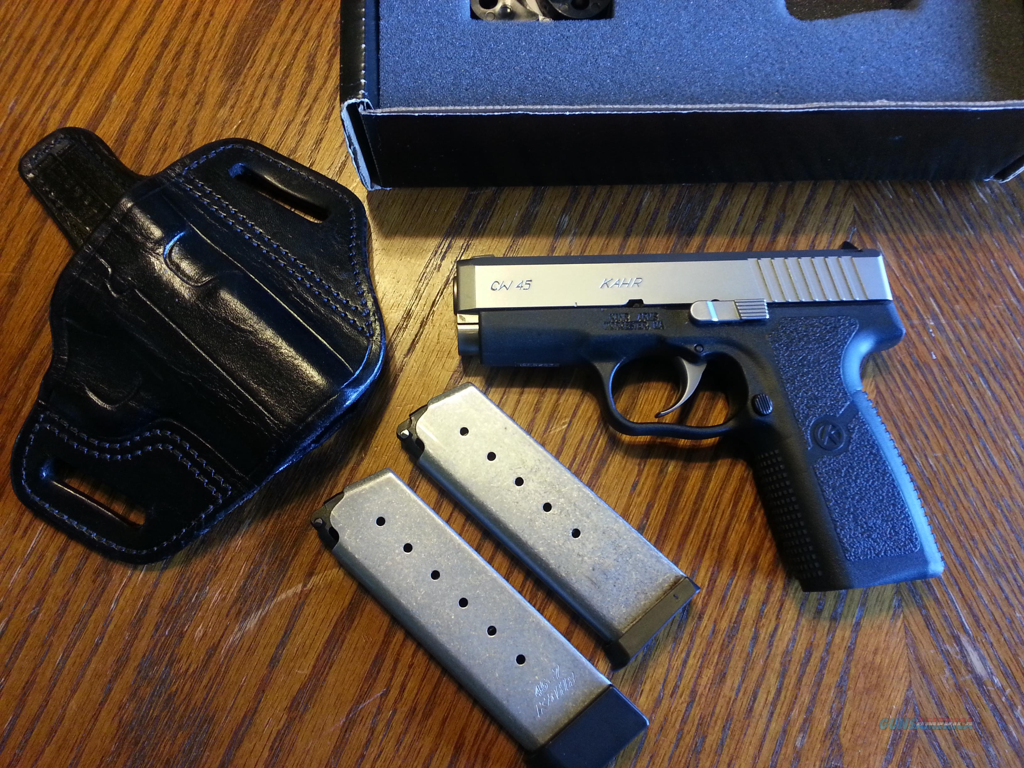 Kahr CW 45 Stainless 2 Tone 45ACP 2 Mags Like New In Box with Custom Leather Holster Concealed Carry  Guns > Pistols > Kahr Pistols