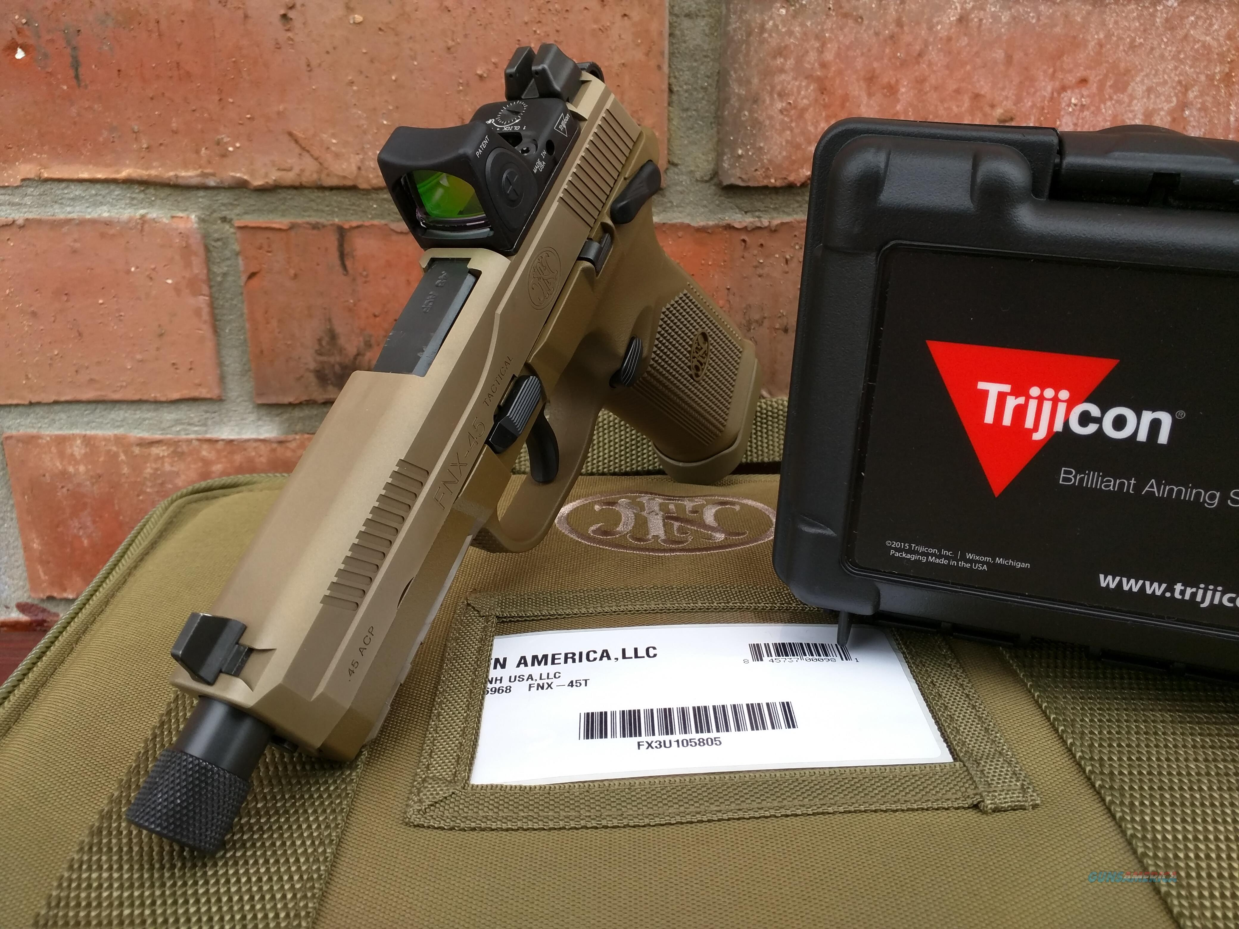 FN FNH FNX-45T ACP FDE, Trijicon RMR type 2 Adj LED 3.25 MOA Red dot,(3) 15 round mags, Threaded barrel, SA/DA, Suppressor height night sights, manual safety, all NIB, FREE LAYAWAY  Guns > Pistols > FNH - Fabrique Nationale (FN) Pistols > FNX