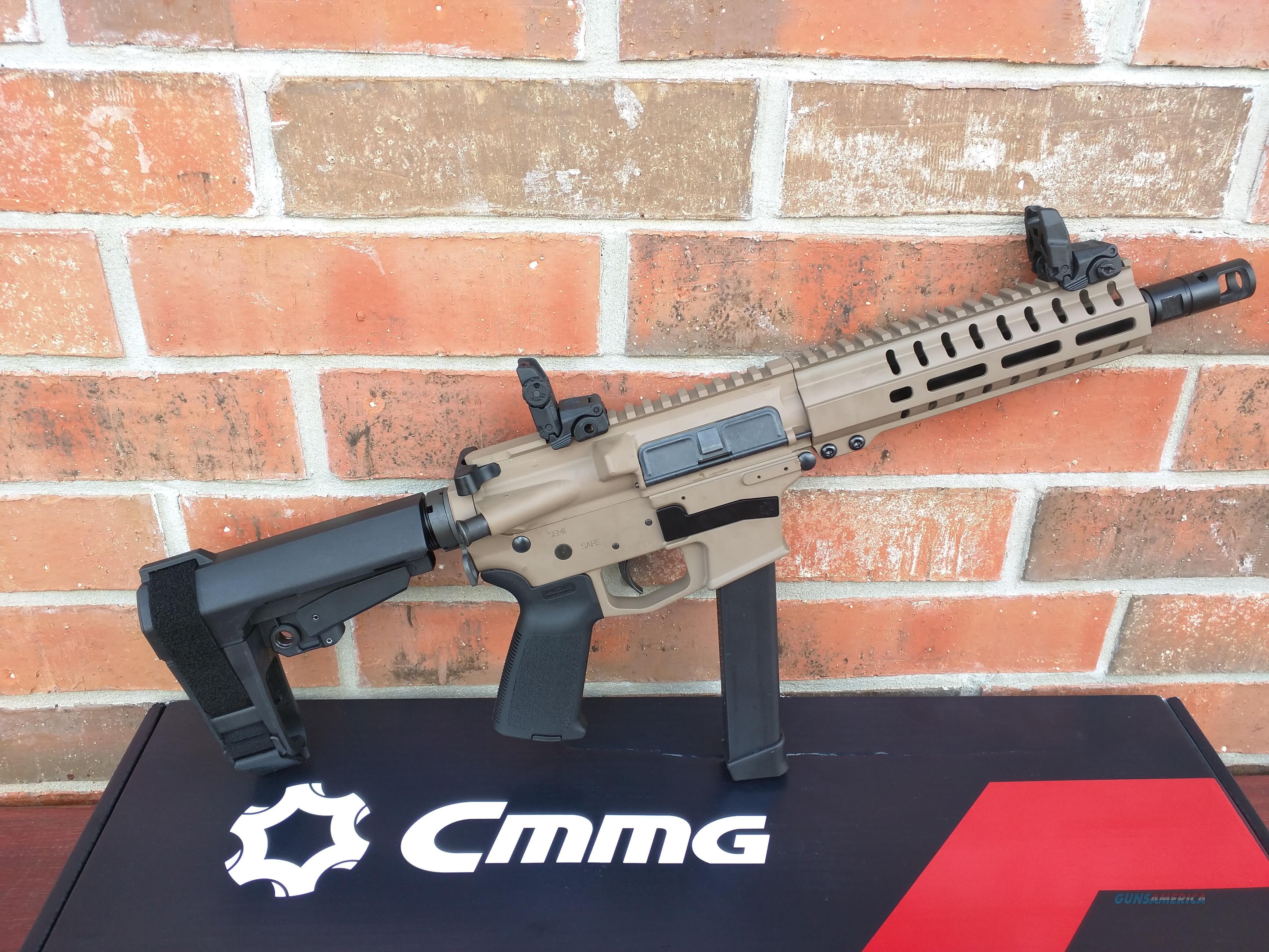 "CMMG Banshee AR 15 Pistol 9mm Flat Dark Earth 8"" FREE MAGPUL MBUS FLIP UP SIGHTS, SBA3 Pistol Brace ,33 Rd Magazine Takes Glock Mags RADIAL DELAYED BLOWBACK Billet Alum. NIB, FREE LAYAWAY  Guns > Rifles > CMMG > CMMG Rifle"