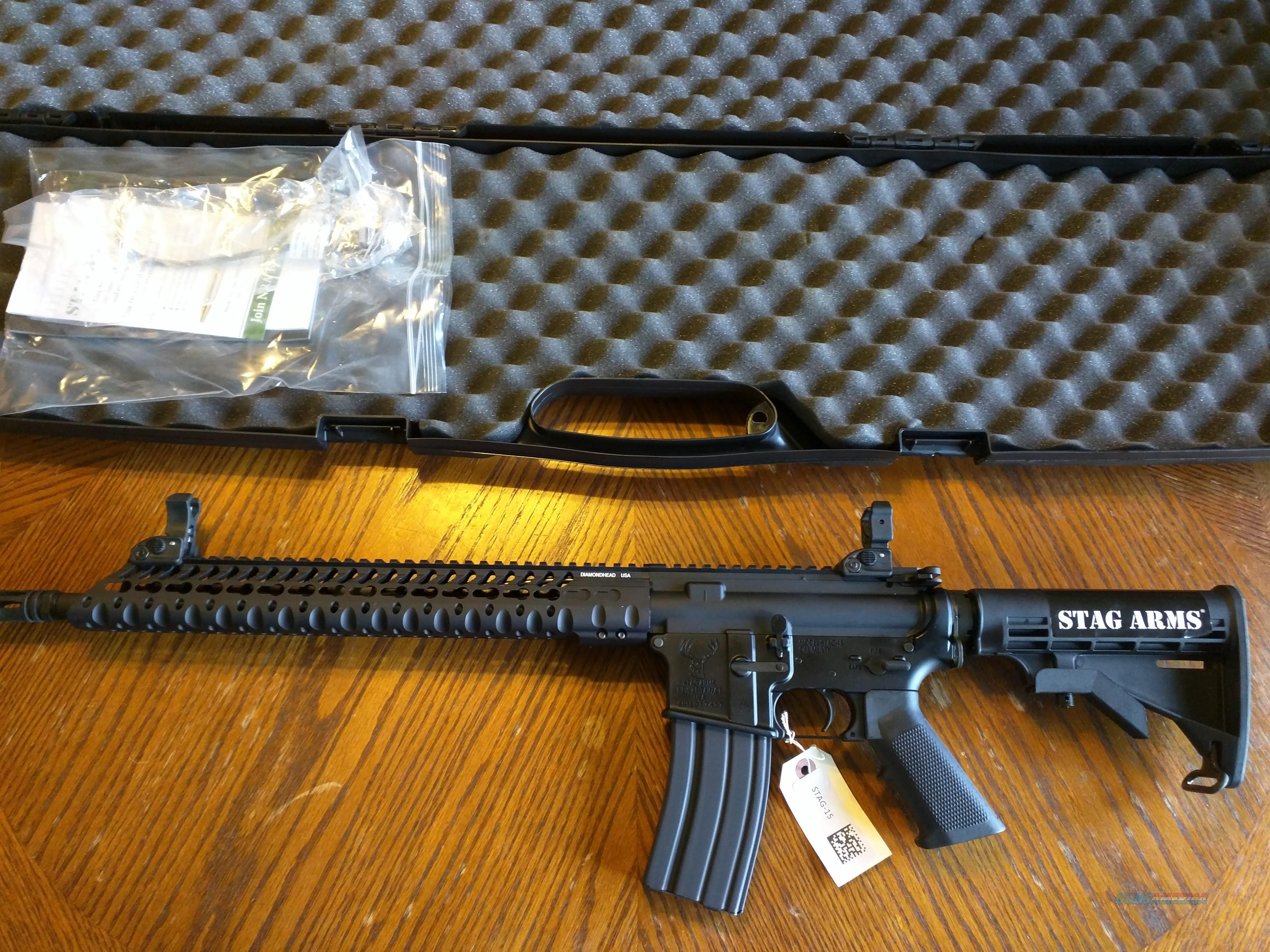 Stag AR 15 AR15 model 3T VRS 5.56 / 223 13.5 in vrs rail modular aluminum Key Mod handguard 16 in Chrome Lined Barrel Diamondhead flip up sights 30 round single stage trigger hard case new in box ON SALE!!! FREE LAYAWAY!!  Guns > Rifles > AR-15 Rifles - Small Manufacturers > Complete Rifle