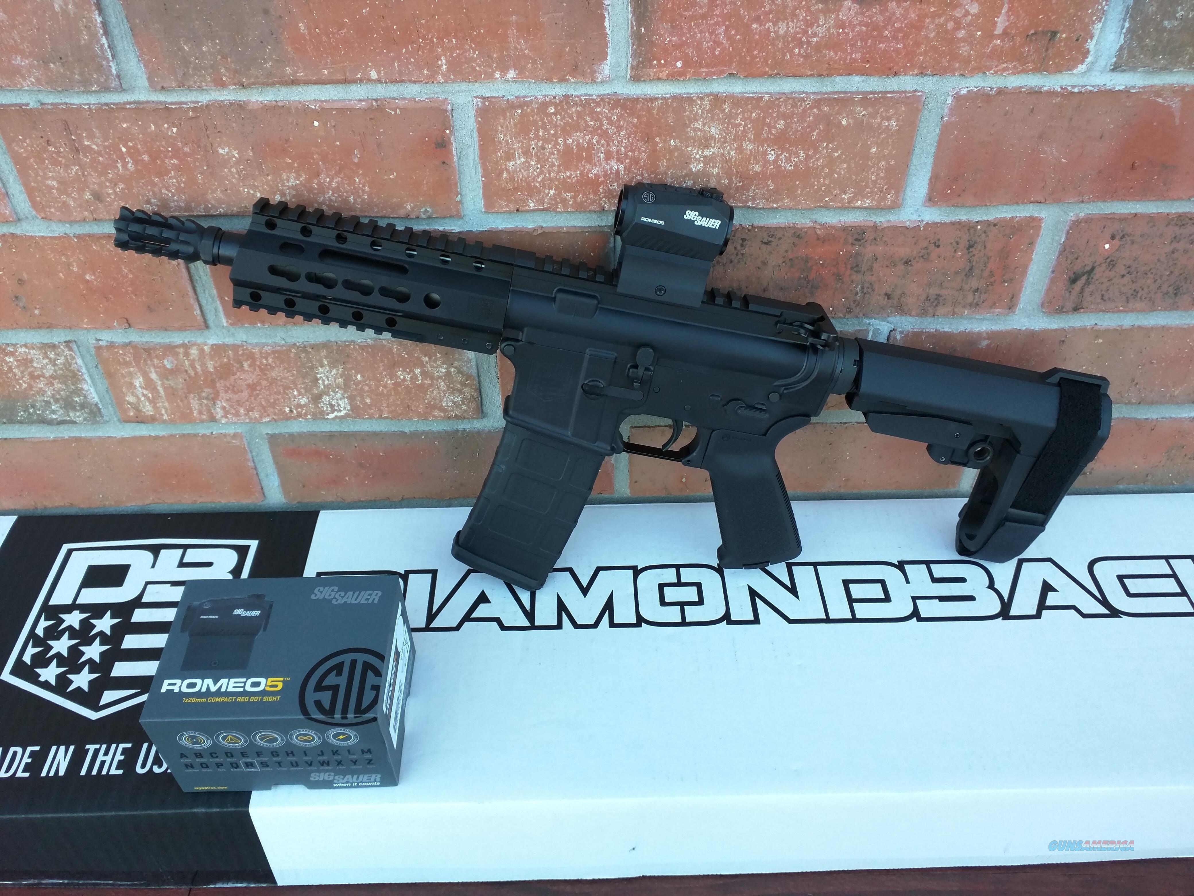 "Diamondback  DB 15 AR 15 AR15 Pistol 7.5"" SIG SAUER Red Dot SB Tactical SBA3 Pistol Adj Brace 223/5.56 30 rd NIB Alum Rail Muzzle Brake Lifetime Warranty FREE LAYAWAY!!  Guns > Rifles > AR-15 Rifles - Small Manufacturers > Complete Rifle"