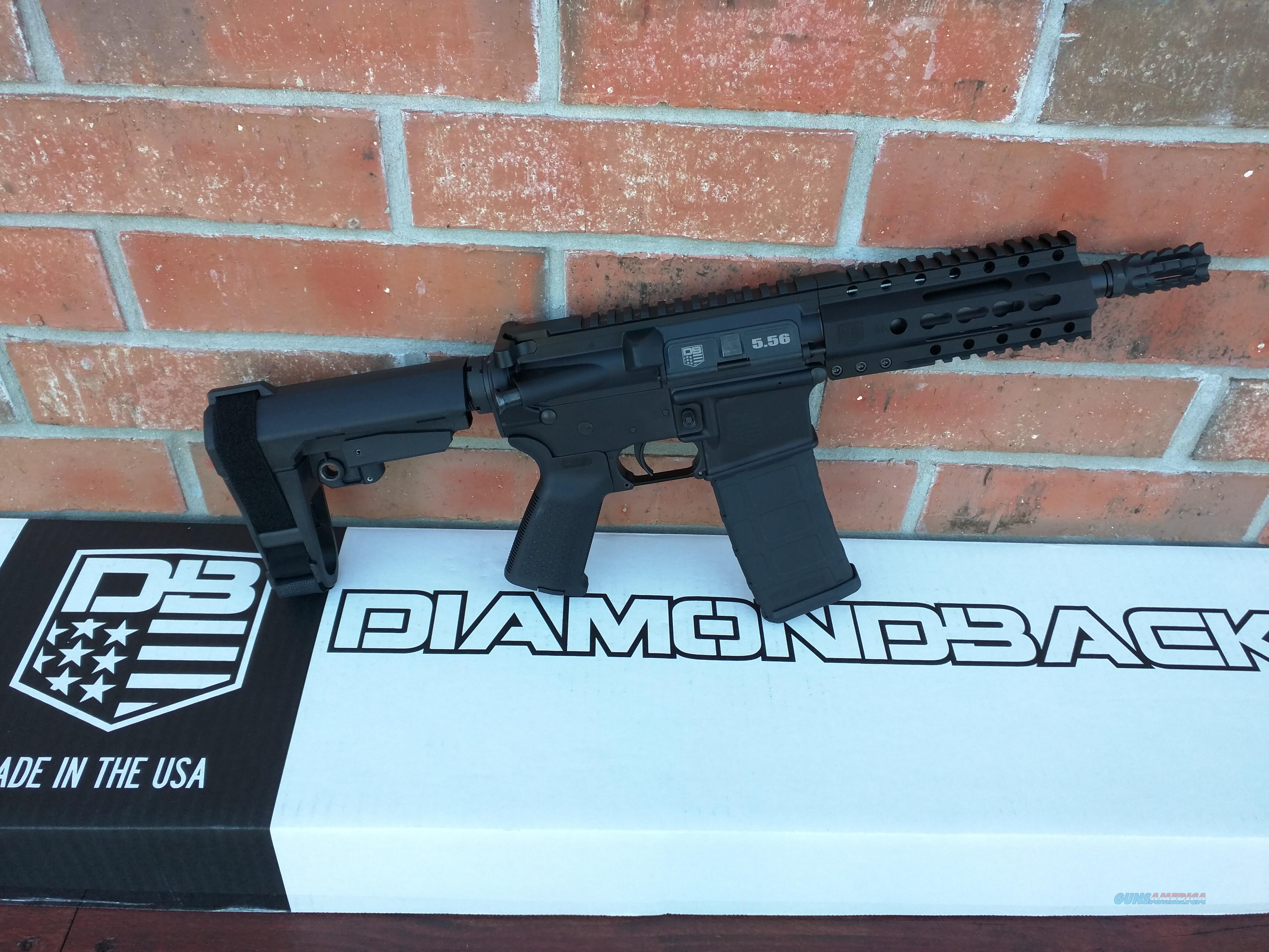 "Diamondback  DB 15 AR 15 AR15 Pistol 7.5"" Black SB Tactical SBA3 Pistol Adj Brace 223/5.56 30 rd NIB Alum Rail Muzzle Brake Lifetime Warranty FREE LAYAWAY!!  Guns > Rifles > AR-15 Rifles - Small Manufacturers > Complete Rifle"