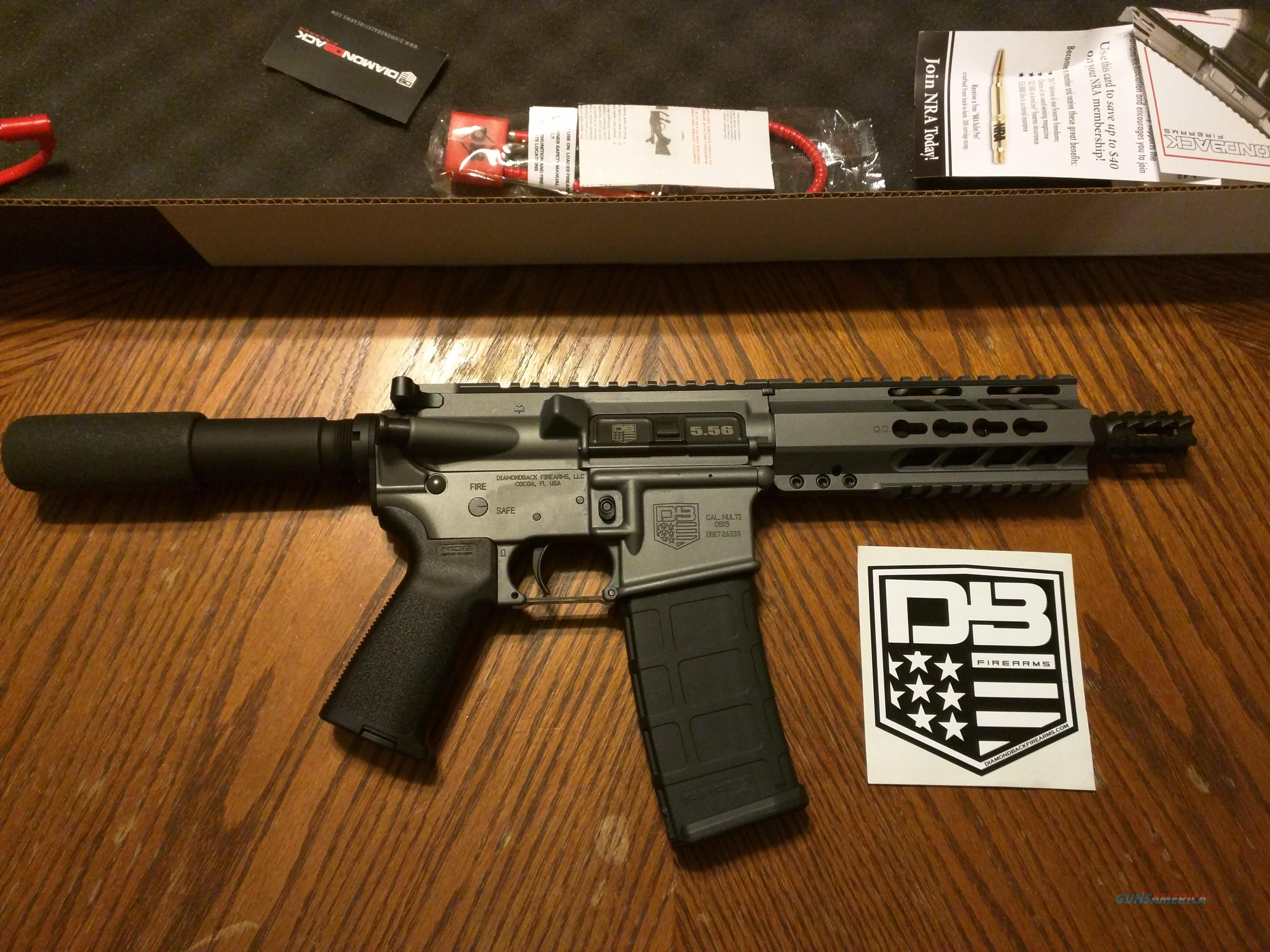 "Diamondback AR15 AR 15 DB 15 Pistol 5.56/223 NIB 7.5"" TACTICAL GRAY 30 Rd Muzzle Brake FREE LAYAWAY  Guns > Rifles > AR-15 Rifles - Small Manufacturers > Complete Rifle"