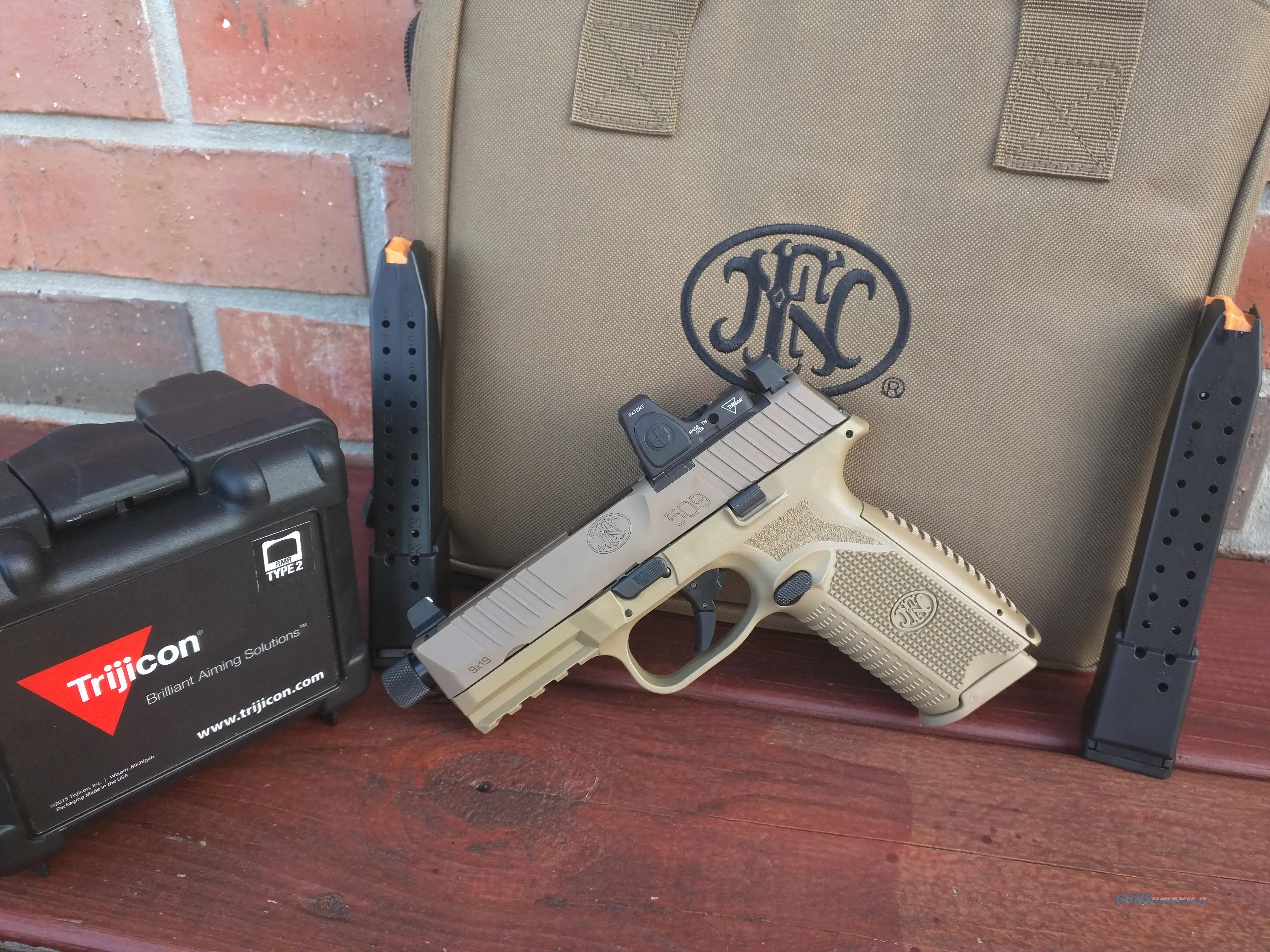 """FN 509 Tactical 4.5"""" 9mm, Trijicon RMR type 2 Adj LED 3.25 MOA Red dot, 3 mags (1) 17round , (2) 24 round mags, suppressor height night sights, FREE LAYAWAY  Guns > Pistols > FNH - Fabrique Nationale (FN) Pistols > FN 509"""