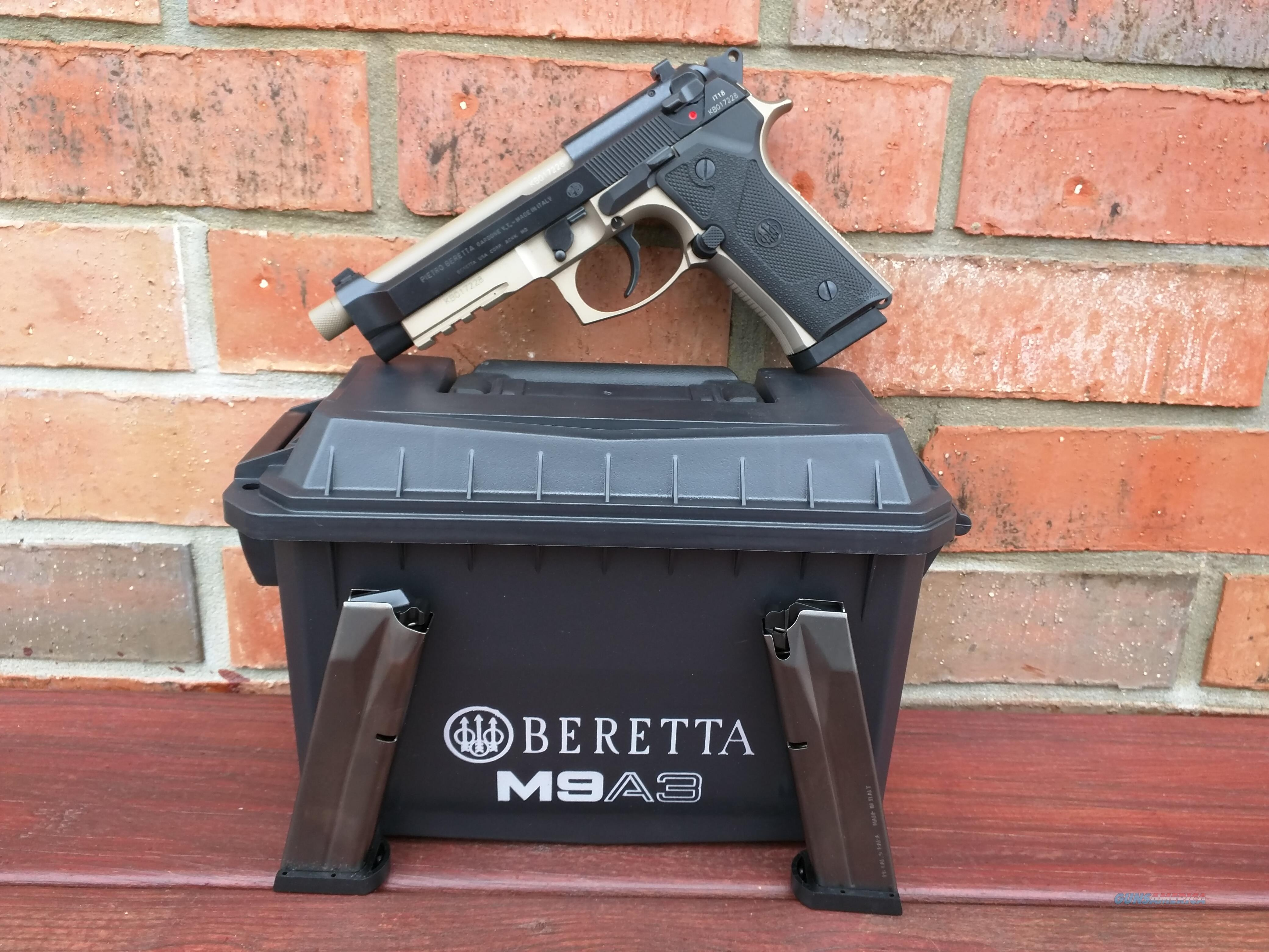"""Beretta M9A3 9mm 2 Tone FDE NEW MODEL Night Sights NIB (3) 17 Rd Mags 2 Sets of Grips 5.2"""" Threaded Barrel Ammo Can Style Case Made in Italy FREE LAYAWAY!! SALE!!  Guns > Pistols > Beretta Pistols > M9"""