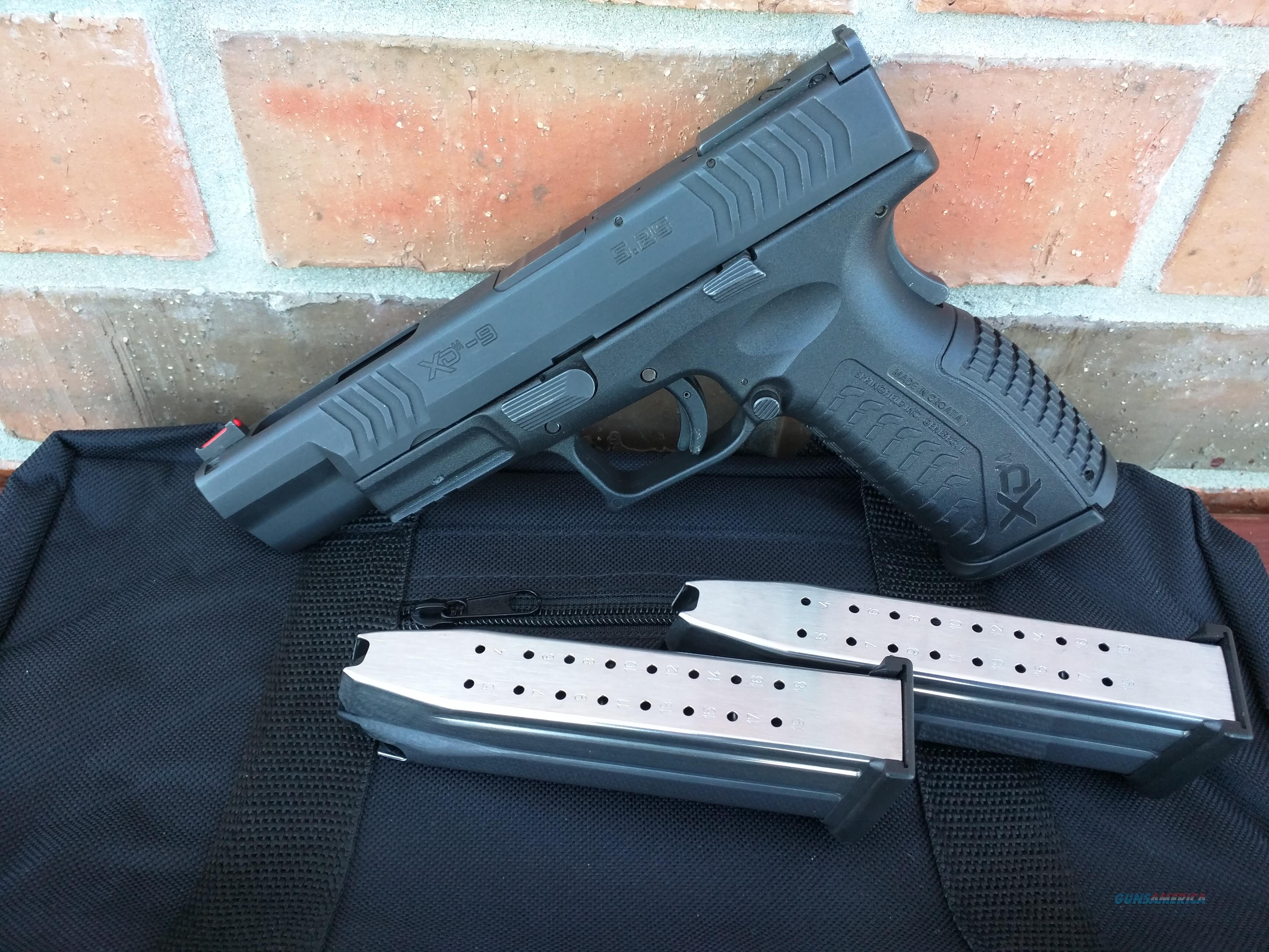 "Springfield XDM 9mm 5.25"" Barrel USED Black 3 Mags 19 Rds. Fiber Optic Front Sight Range Bag FREE LAYAWAY!!  Guns > Pistols > Springfield Armory Pistols > XD-M"