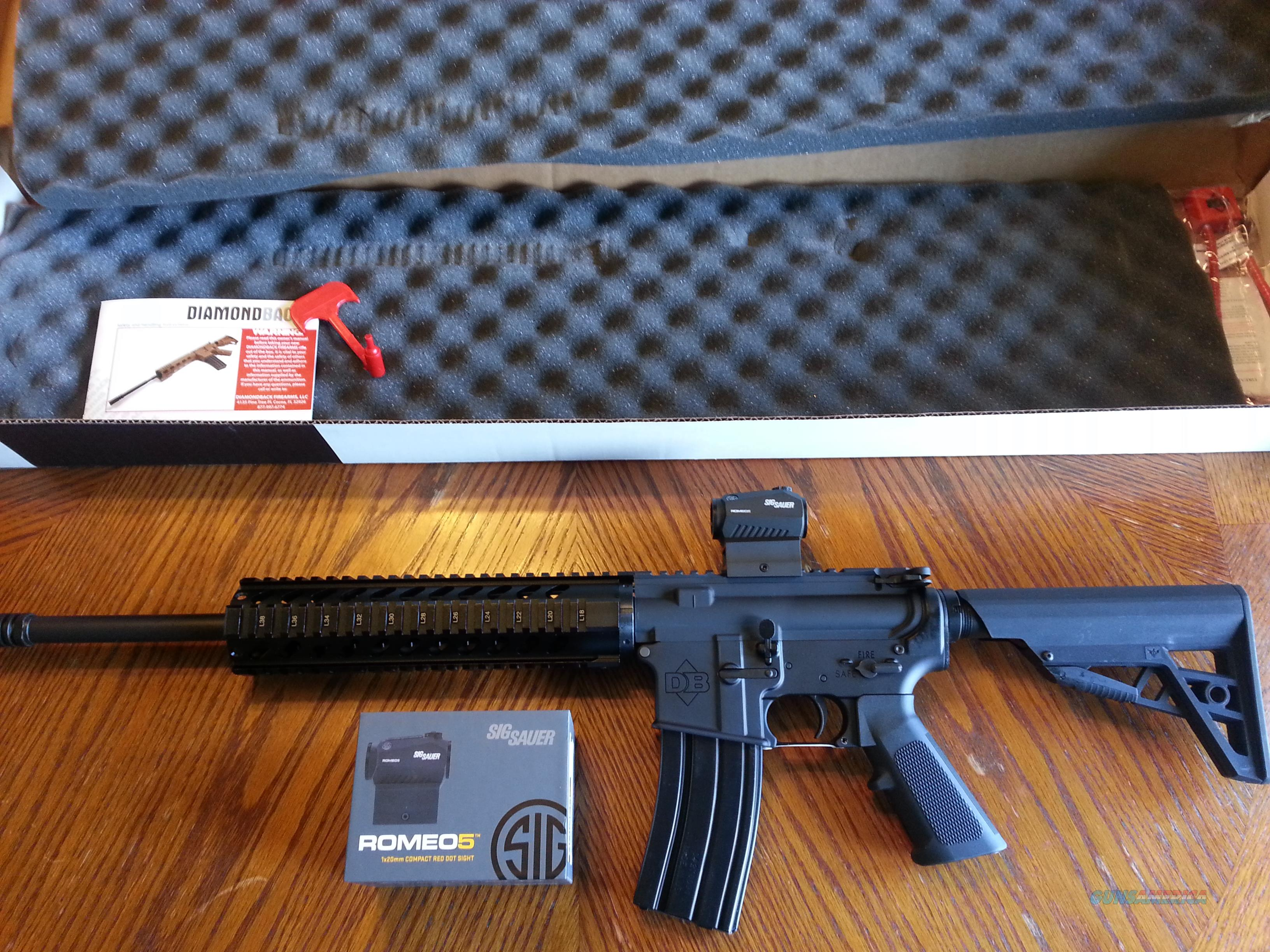 "Diamondback AR15 AR 15 DB15-CCB & SIG ROMEO 5 RED DOT COMBO LIFETIME WARRANTY 223/5.56 NIB Alum. Quad Rail 30 rd Mag 16"" Carbine FREE LAYAWAY!!  Guns > Rifles > AR-15 Rifles - Small Manufacturers > Complete Rifle"