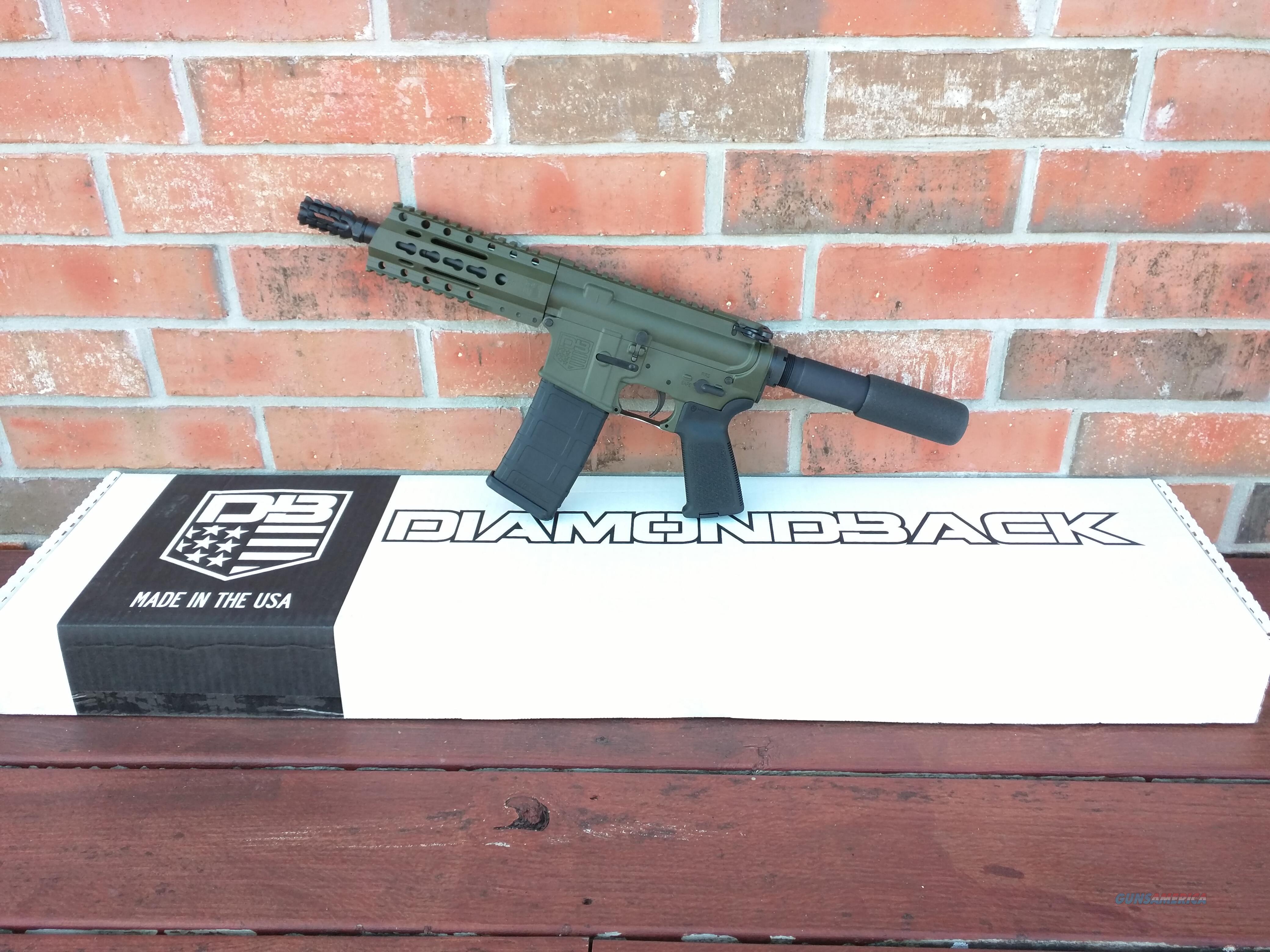 "Diamondback AR15 AR 15 DB 15 Pistol 5.56/223 NIB 7.5"" OD Green 30 Rd Muzzle Brake FREE LAYAWAY  Guns > Rifles > AR-15 Rifles - Small Manufacturers > Complete Rifle"