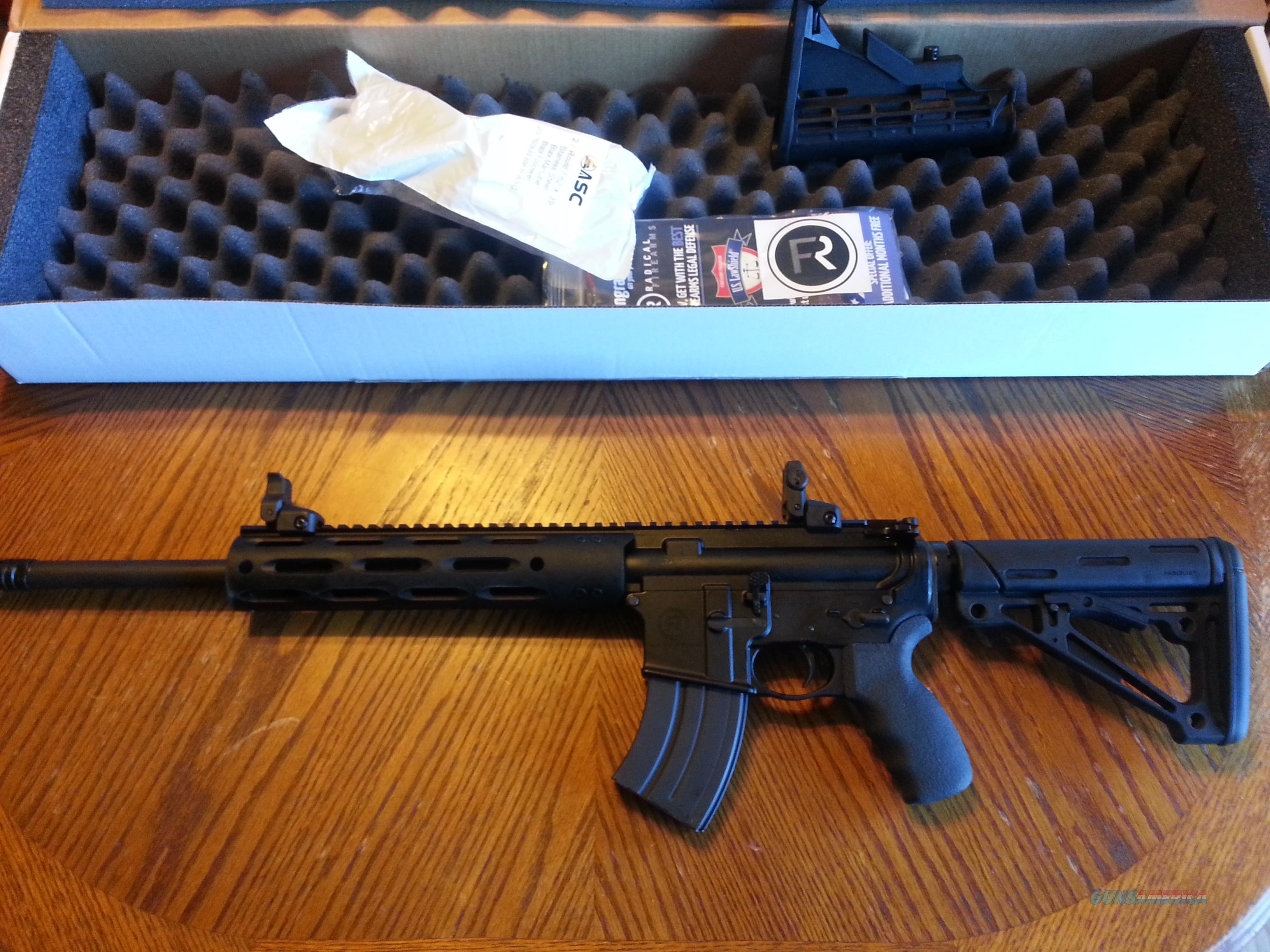 "Radical Firearms AR15  AR 15  7.62x39 AK 47 Round  NIB 20 rd mag 16"" Alum  Handguard XTRAS Hogue Stock Pachmayr Grip Ruger Flip Up Sights  Guns > Rifles > AR-15 Rifles - Small Manufacturers > Complete Rifle"