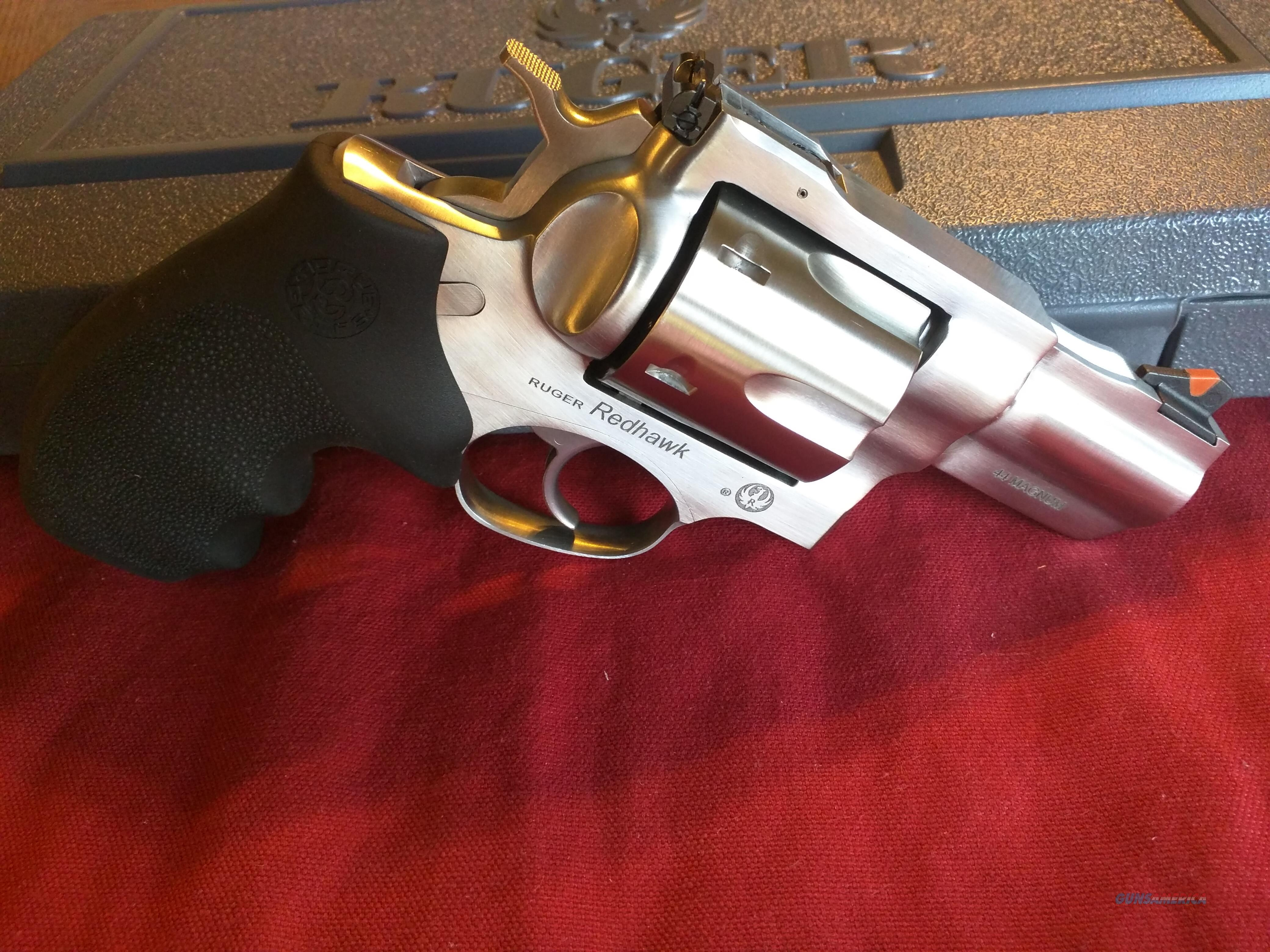 """Ruger Redhawk Kodiak .44 Mag/.44 Special, All Stainless, 2 3/4"""" Barrel, 6 shot, with Hogue Rubber grips and Wood Grips, FREE Layaway  Guns > Pistols > Ruger Double Action Revolver > Redhawk Type"""