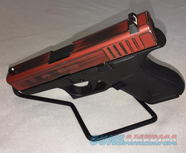 Glock 42 .380 Custom Cerakote (DeadPool) Distressed  Guns > Pistols > Glock Pistols > 42