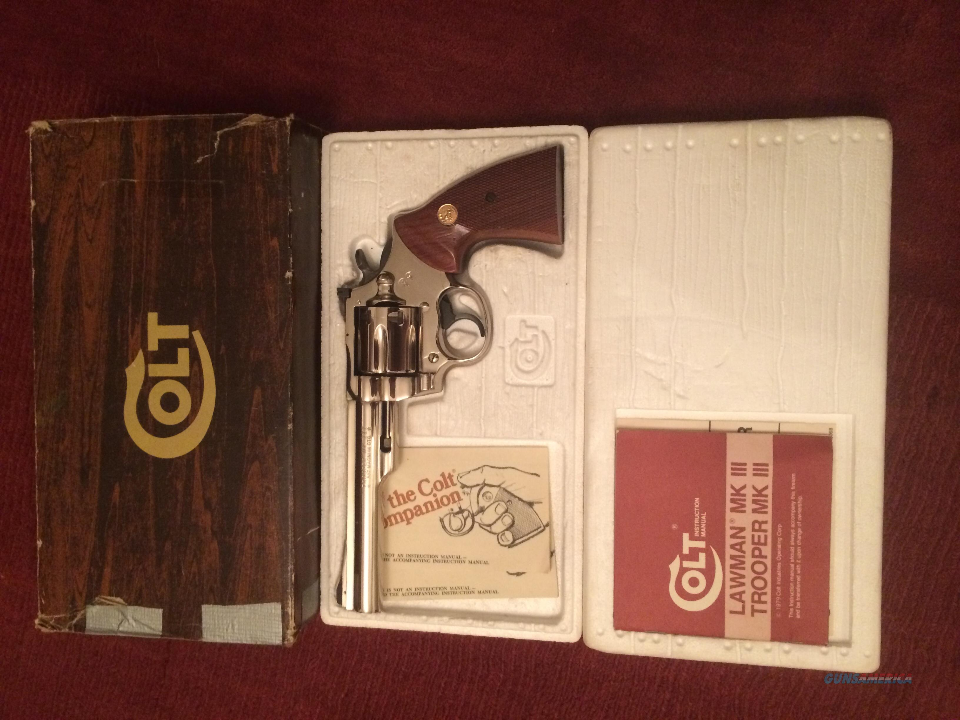 "Colt Trooper MKIII 357, 6"" Nickel w/ Box  Guns > Pistols > Colt Double Action Revolvers- Modern"