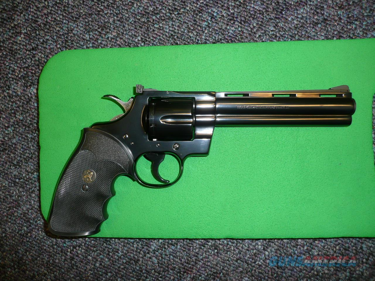Like New Colt Python 6 inch Blue with box and papers  Guns > Pistols > Colt Double Action Revolvers- Modern