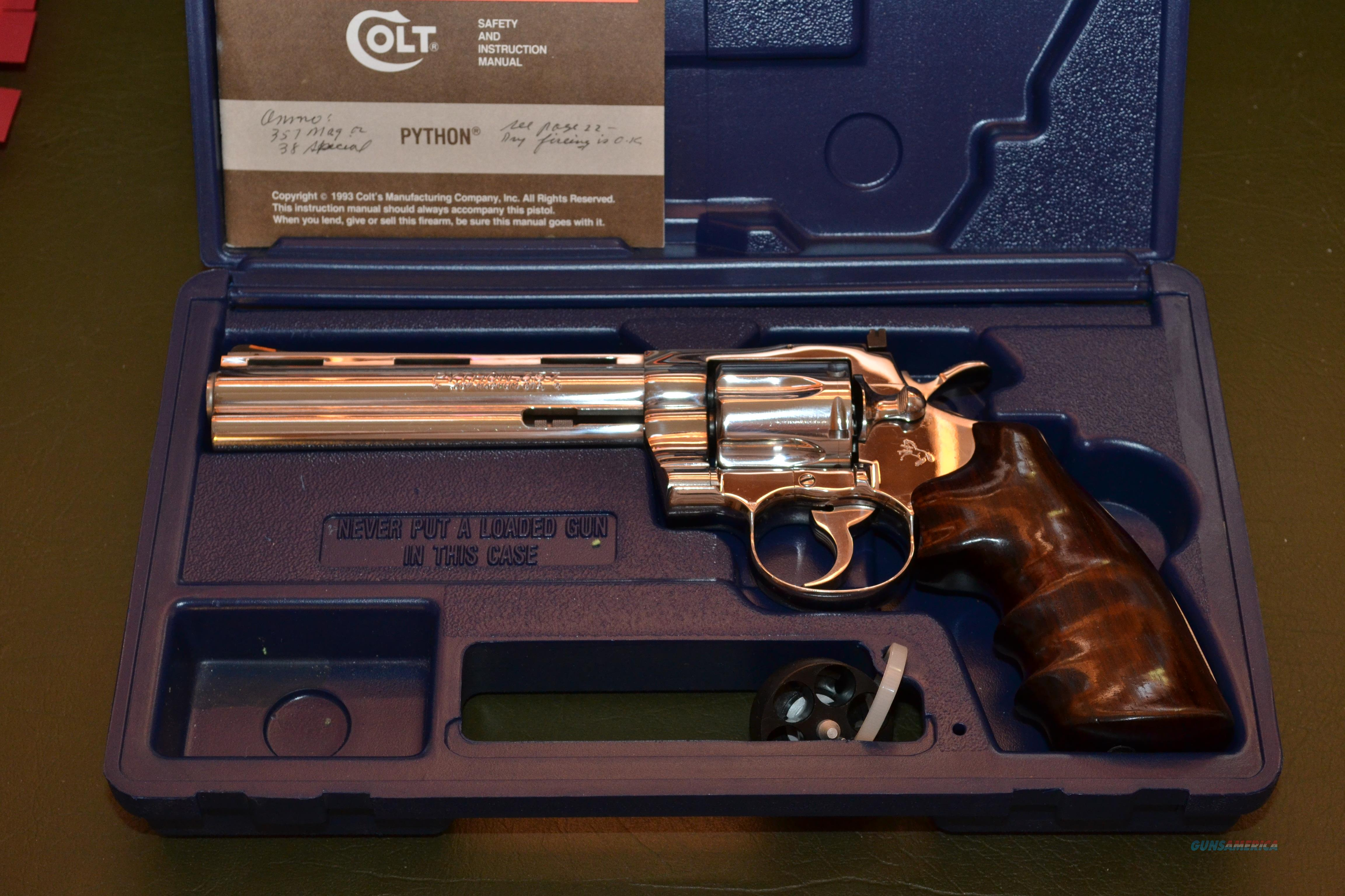 "Rare Colt Python .357 6"" Bright Stainless Steel  Guns > Pistols > Colt Double Action Revolvers- Modern"