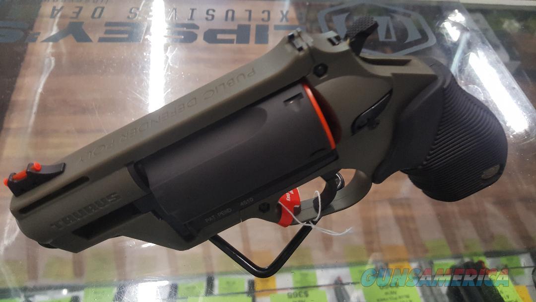 Taurus Judge Public Defender 410/45LC Polymer OD Green Revolver, New In Box  Guns > Pistols > Taurus Pistols > Revolvers