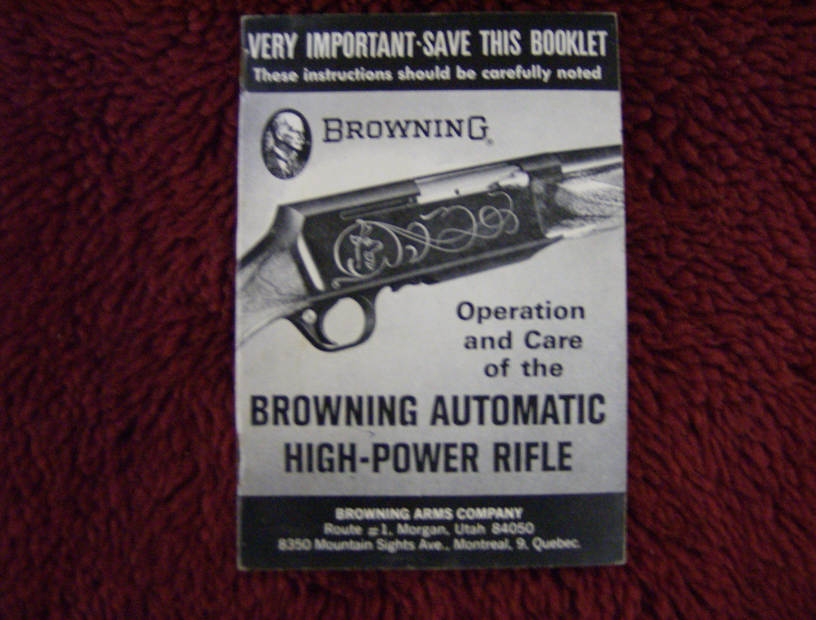 BROWNING OWNERS MANUAL FOR BAR RIFLE  Non-Guns > Manuals - Print