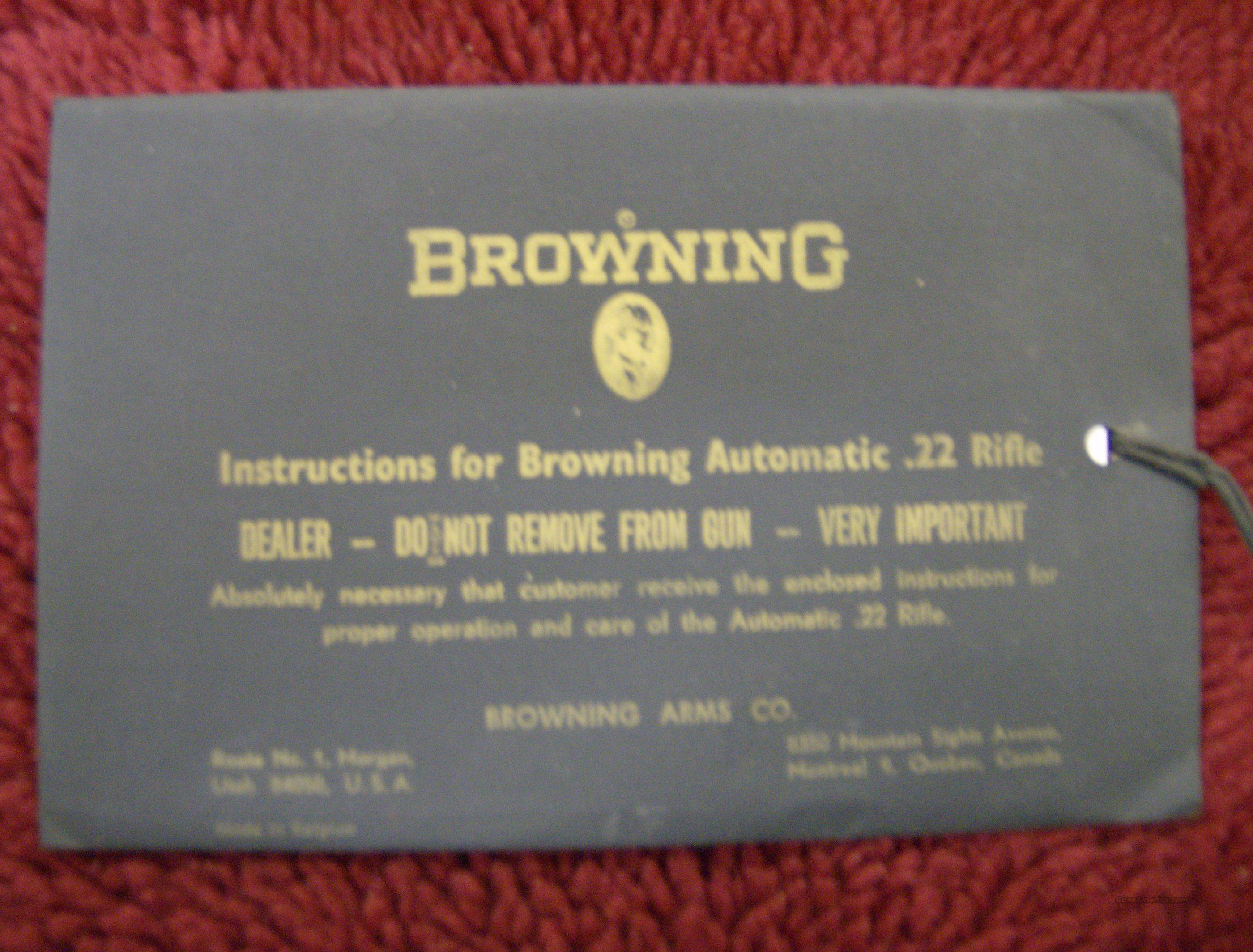 BROWNING OWNERS MANUAL FOR 22 AUTOMATIC RIFLE  Non-Guns > Manuals - Print