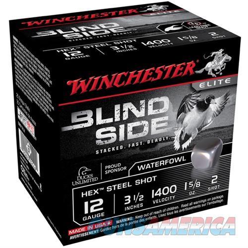 Winchester Ammo Blind Side 12ga 3-1/2'' #2 1-5/8oz 25/bx  Non-Guns > Ammunition