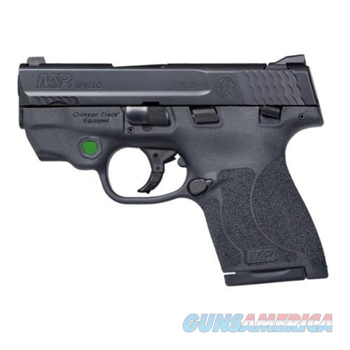SW M&P 9 Shield M2.0 W/Ct Green 9mm 3.1'' Bbl Black 8Rd Ts  Guns > Pistols > Smith & Wesson Pistols - Autos > Shield