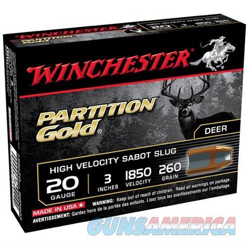 WINCHESTER PARTITION GOLD 20GAUGE 3' 260GR SABOT SLUG 5/BX (5 ROU  Non-Guns > Ammunition