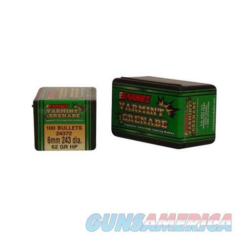 BARNES BULLET 6MM CALIBER 243 DIA. 62GR VARMING GRENADE  Non-Guns > Reloading > Components > Bullets