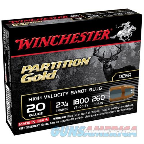 Winchester Partition Gold 20ga 2.75'' 260gr Sabot Slug 5/bx  Non-Guns > Ammunition