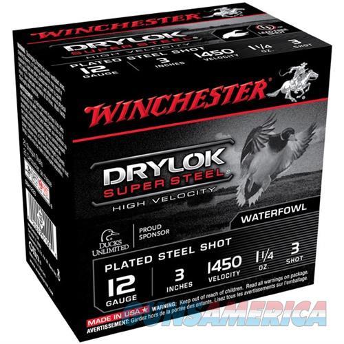 Winchester Drylok Super Steel HV 12ga 3'' 1-1/4oz #3 25/bx  Non-Guns > Ammunition