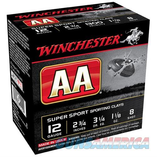 Winchester AA Super Sport Clays 12ga 2.75'' 1-1/8oz #8 25/bx  Non-Guns > Ammunition