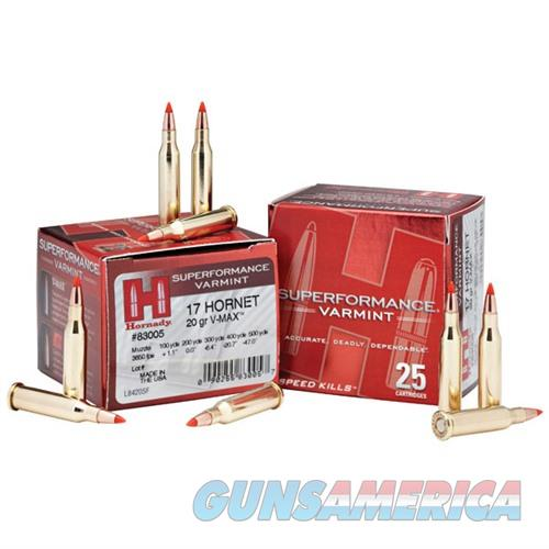 Hornady Superformance Varmint 17 Hornet 20gr V-MAX 25/bx  Non-Guns > Ammunition