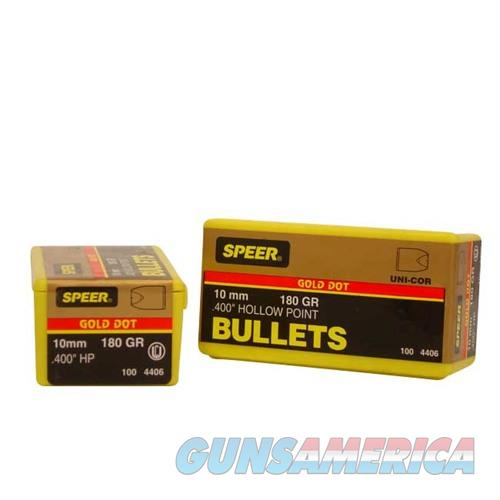 Speer Bullet 10mm .400 180Gr GD HP 100/Box  Non-Guns > Reloading > Components > Bullets