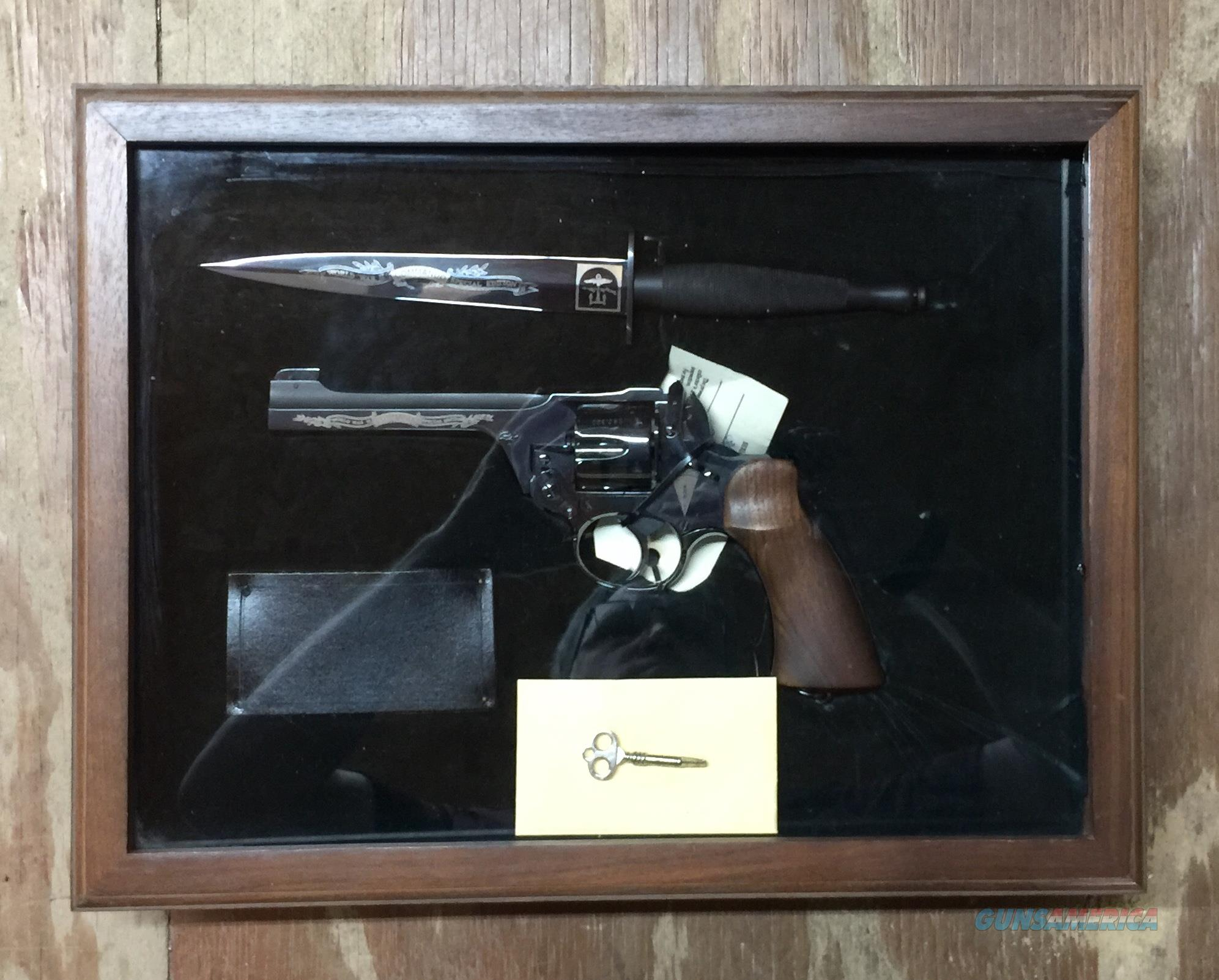 Cased WWII Commando Special Edition Commemorative British Enfield No. 2 Mk I .38 caliber Double Action Revolver and Fairbairn Sykes Fighting Knife  Guns > Pistols > B Misc Pistols