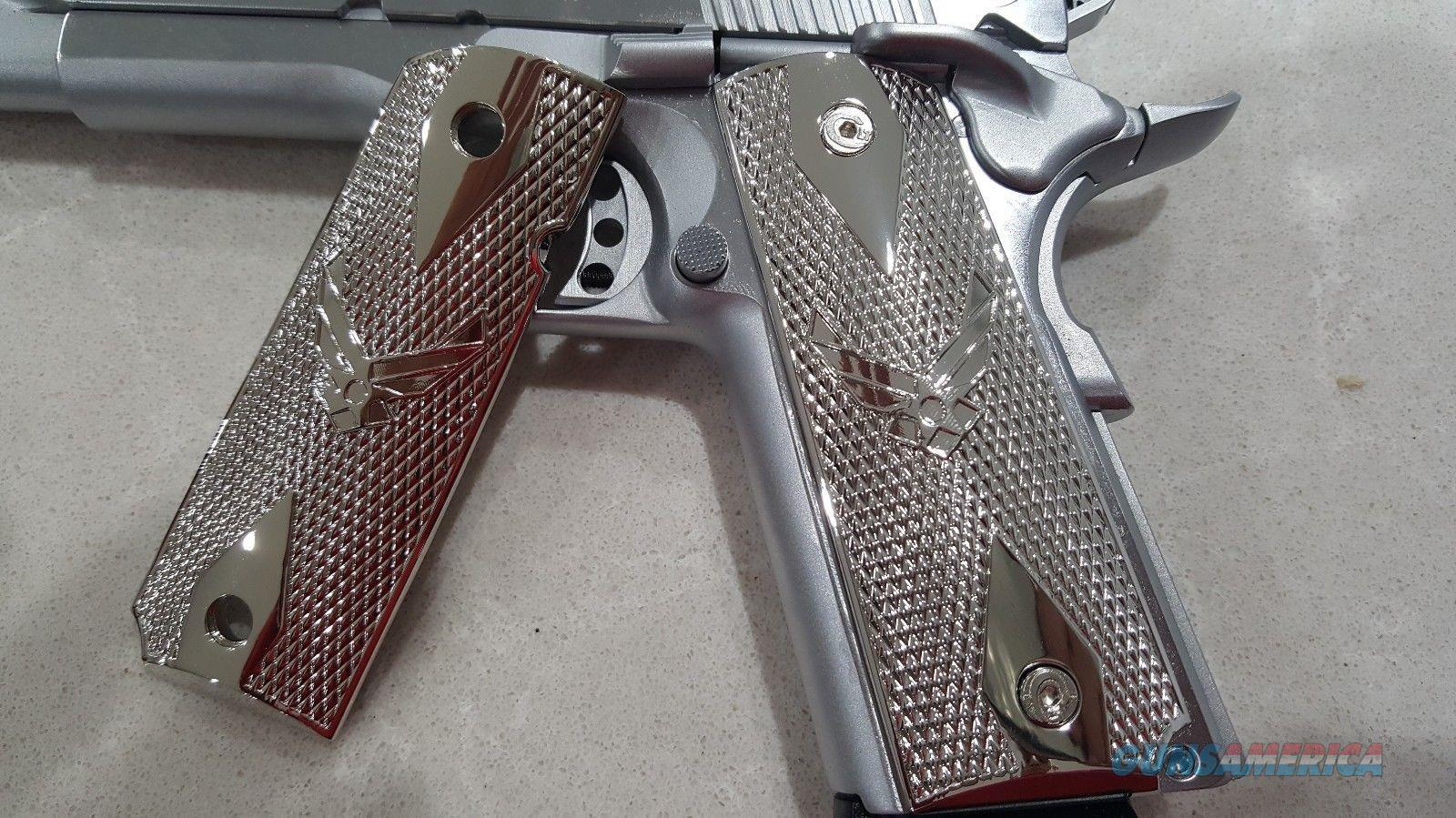 1911 Grips US Air Force Full Size Checkered Nickel Plated Screws Included  Non-Guns > Gun Parts > 1911