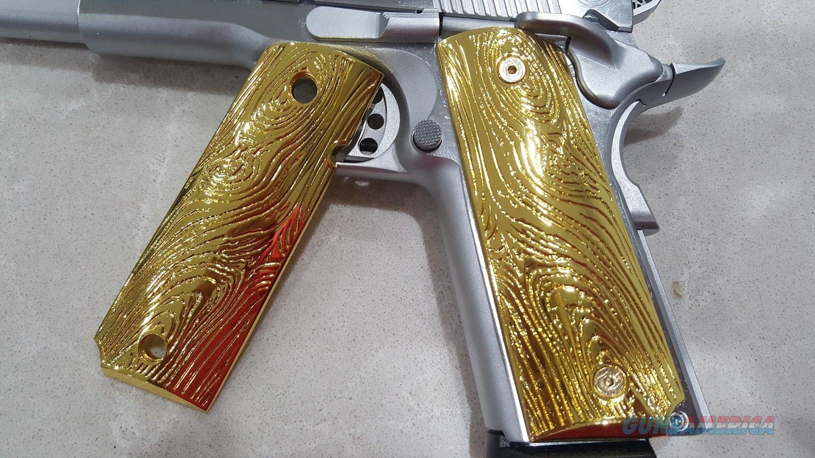 FIT ALL 1911 COLT GRIPS FULL SIZE GOVERNMENT METAL Grips Scroll GRIP GOLD Plated  Non-Guns > Gun Parts > 1911